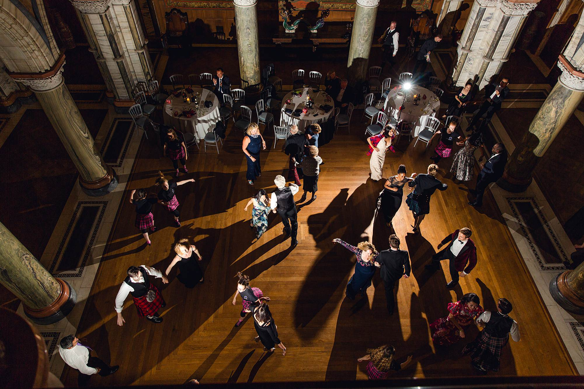 intimate wedding scotland aerial view of ceilidh dancing