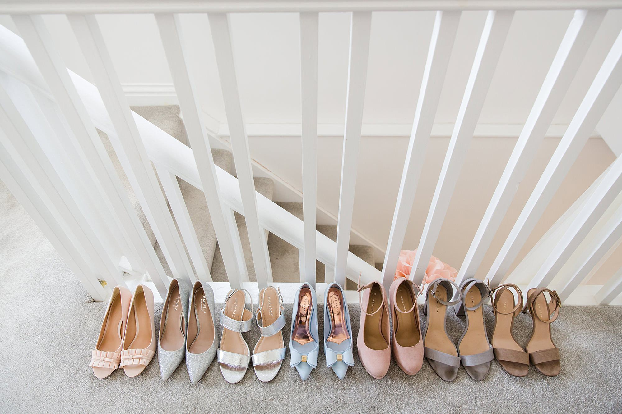 Lillibrooke Manor wedding bride and bridesmaid's shoes lined up