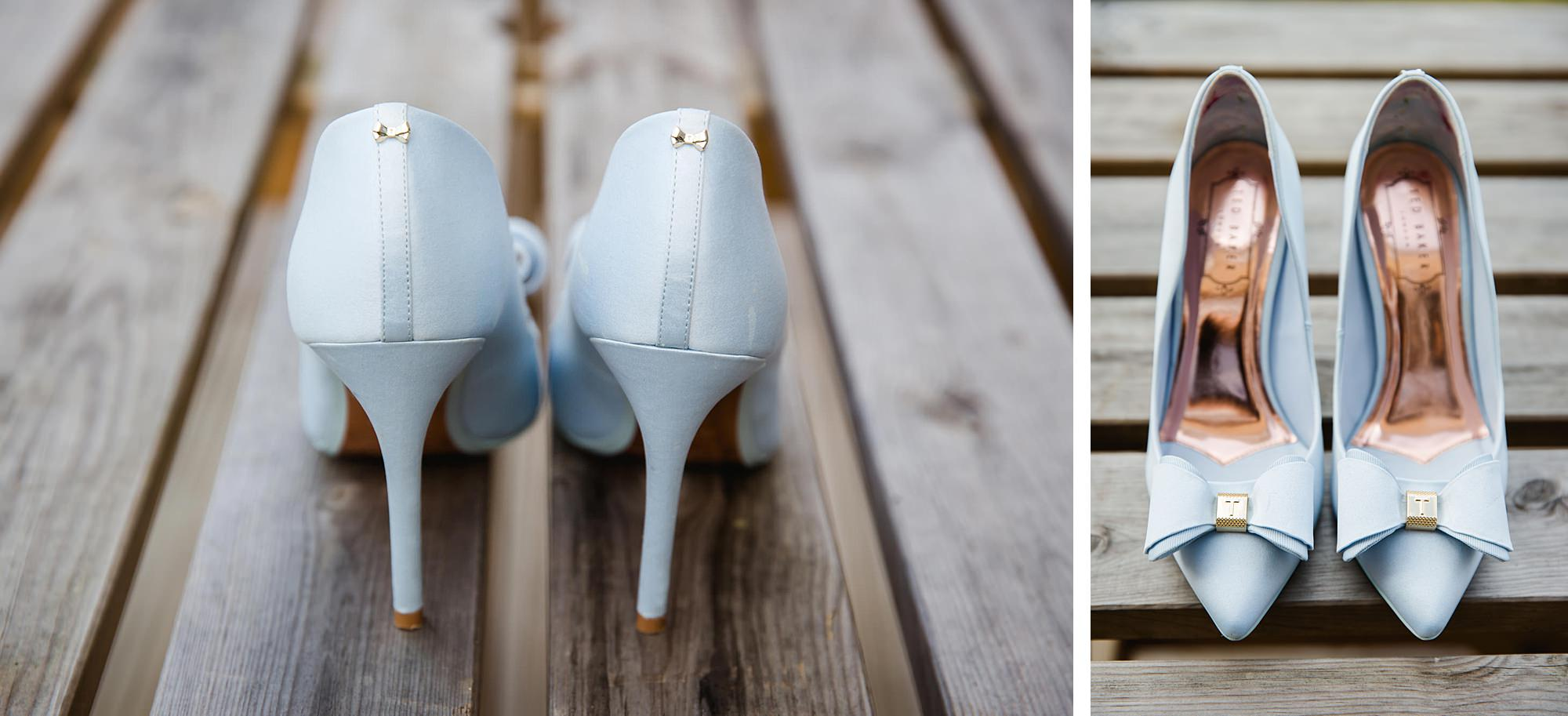 Lillibrooke Manor wedding bride's blue wedding shoes