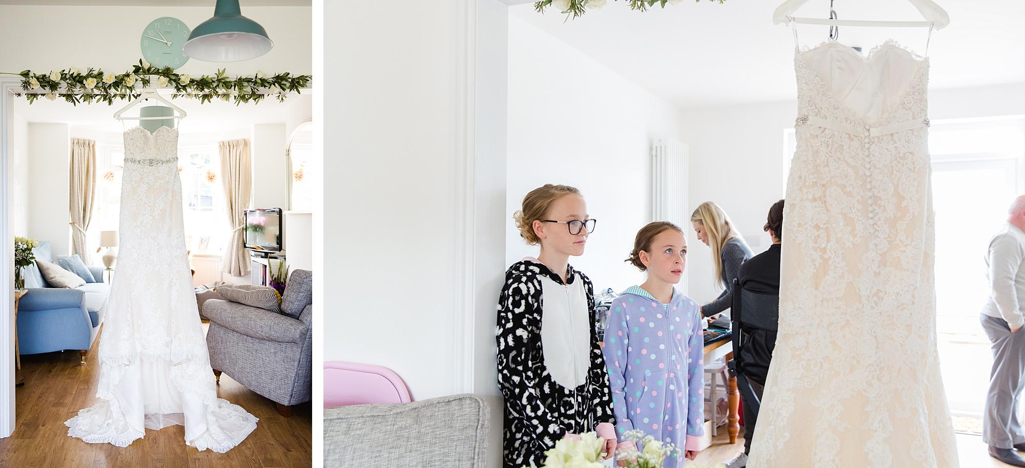 Lillibrooke Manor wedding bride's dress with flower girls