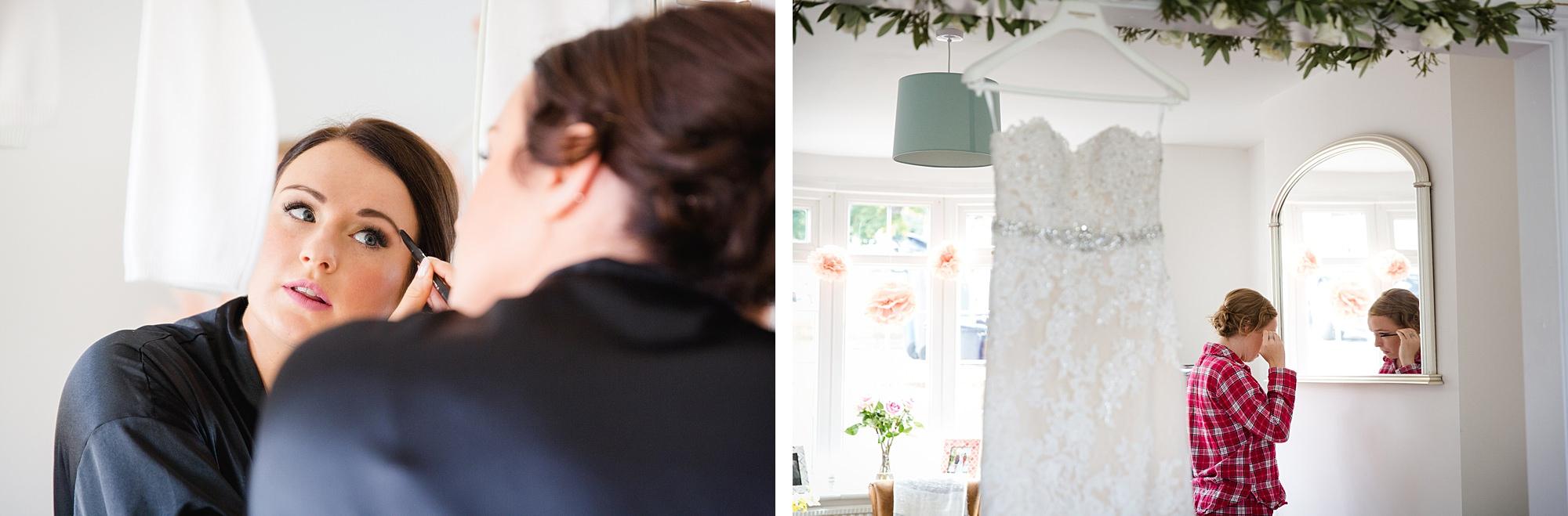 Lillibrooke Manor wedding bridesmaids doing their makeup