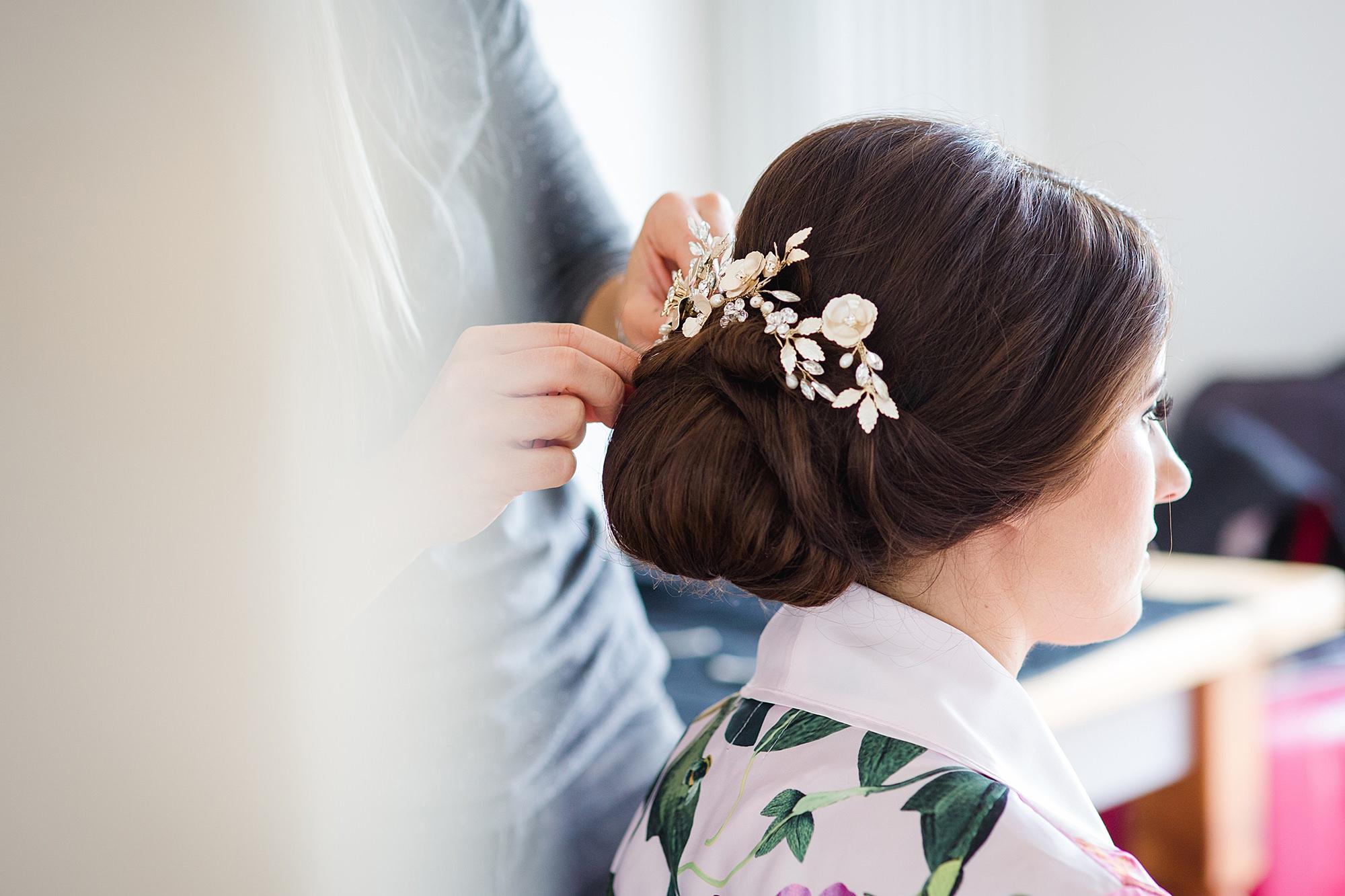 Lillibrooke Manor wedding bride has hairpiece put on