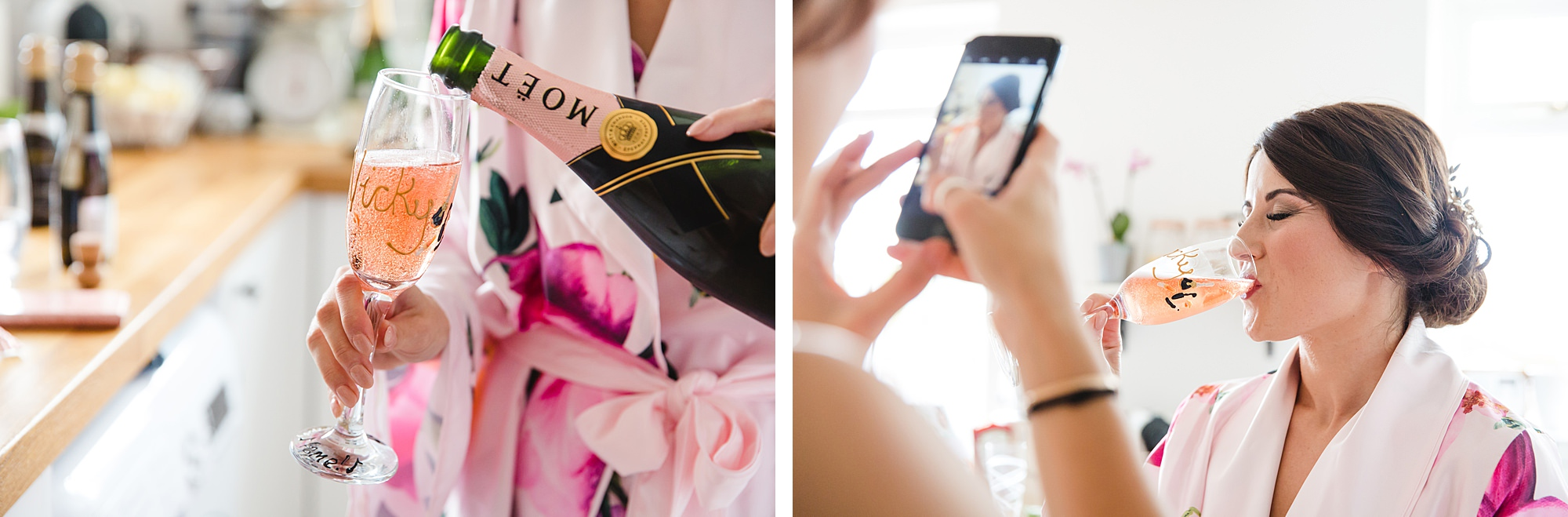 Lillibrooke Manor wedding bride enjoys champagne
