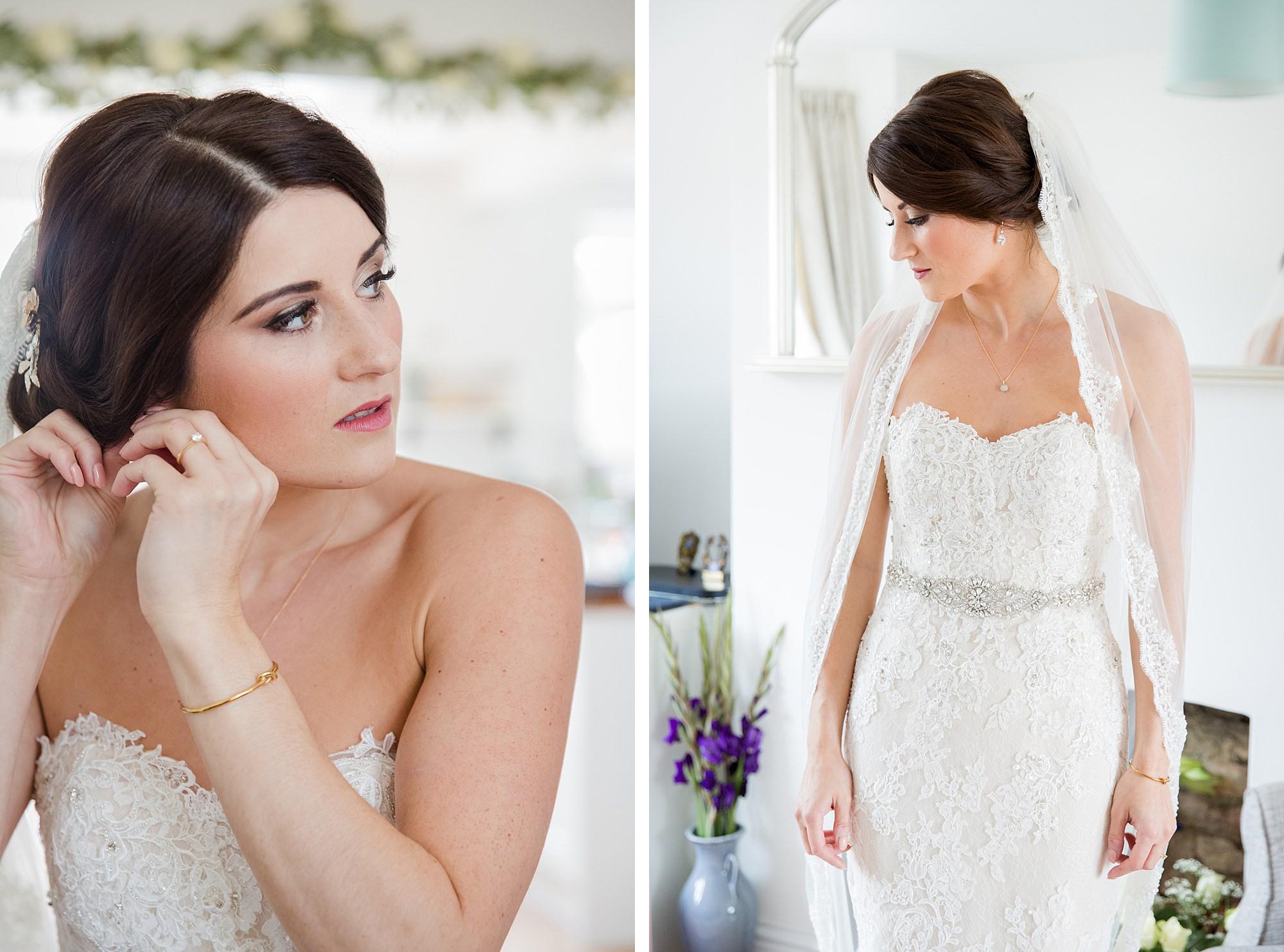 Lillibrooke Manor wedding portrait of bride putting on earrings