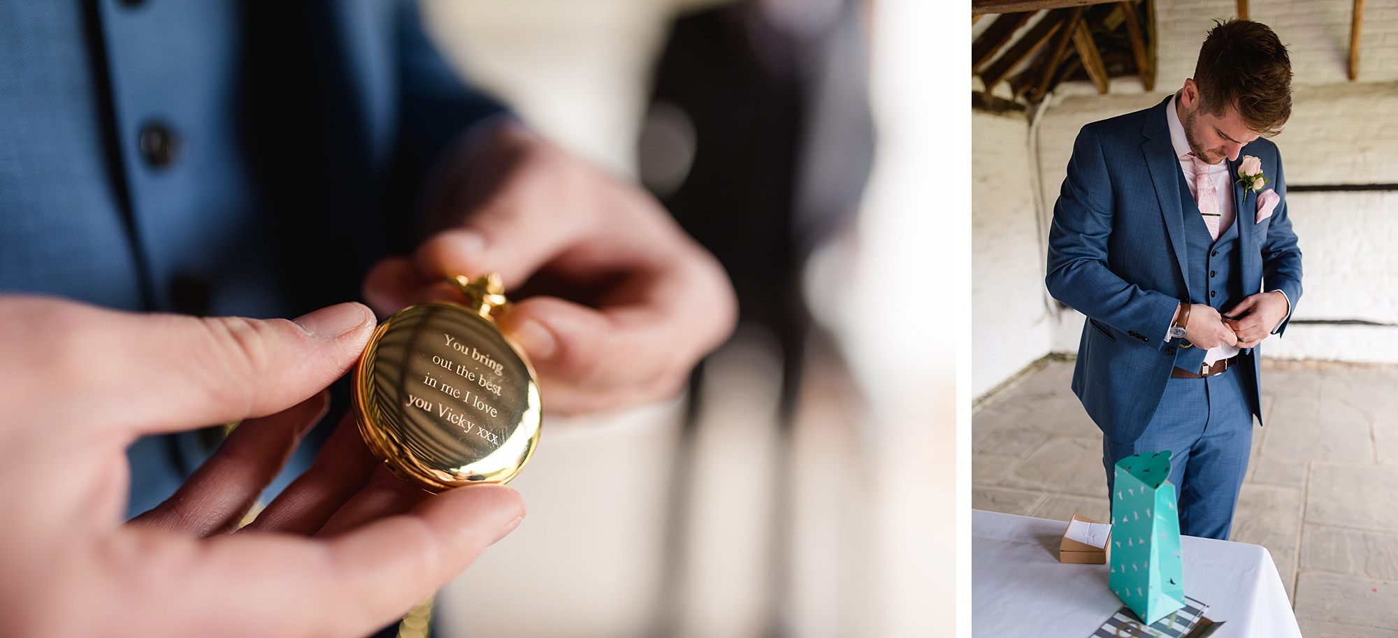 Lillibrooke Manor wedding groom shows off hie new pocket watch