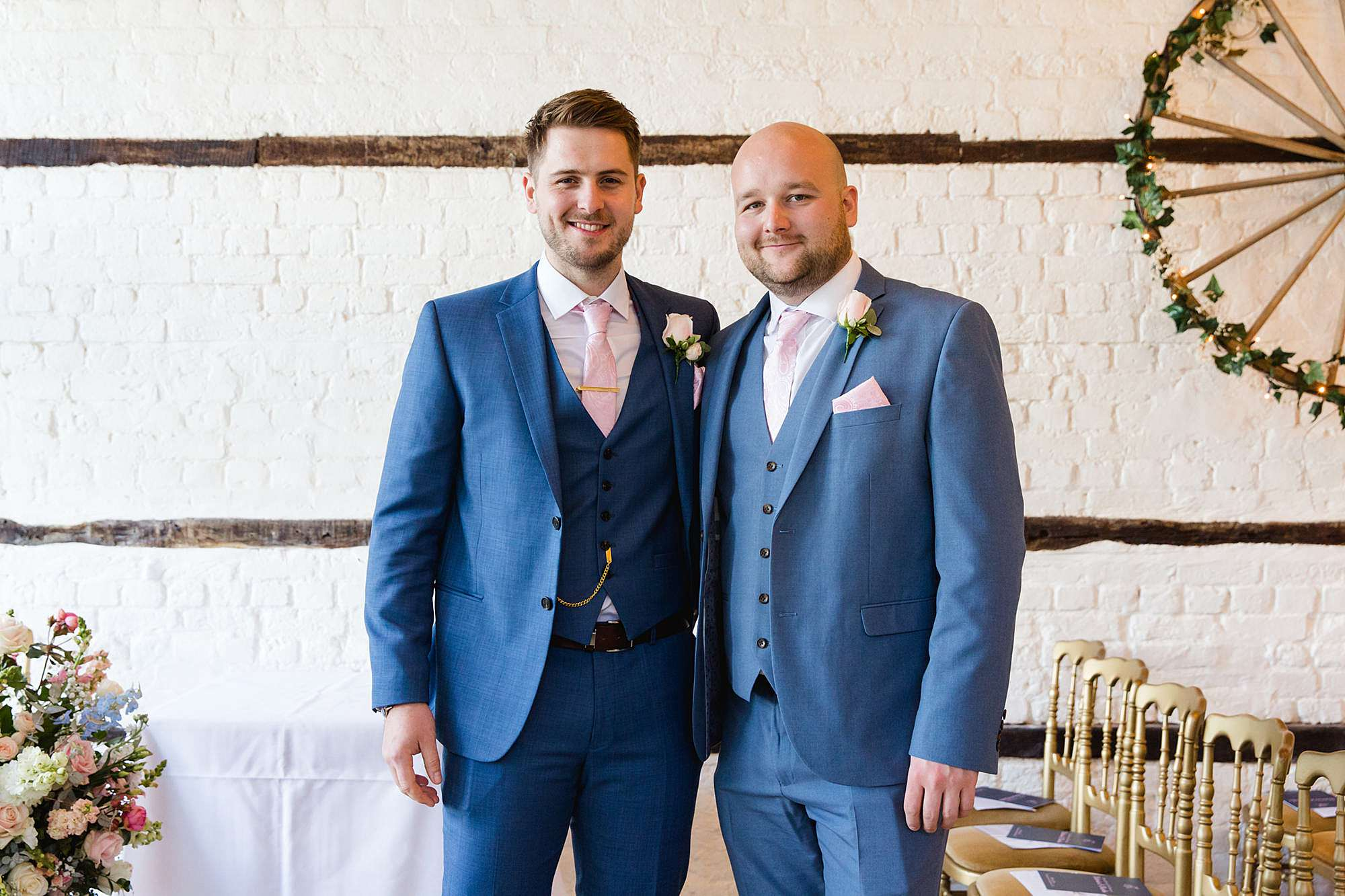 Lillibrooke Manor wedding groom and best man ahead of ceremnony