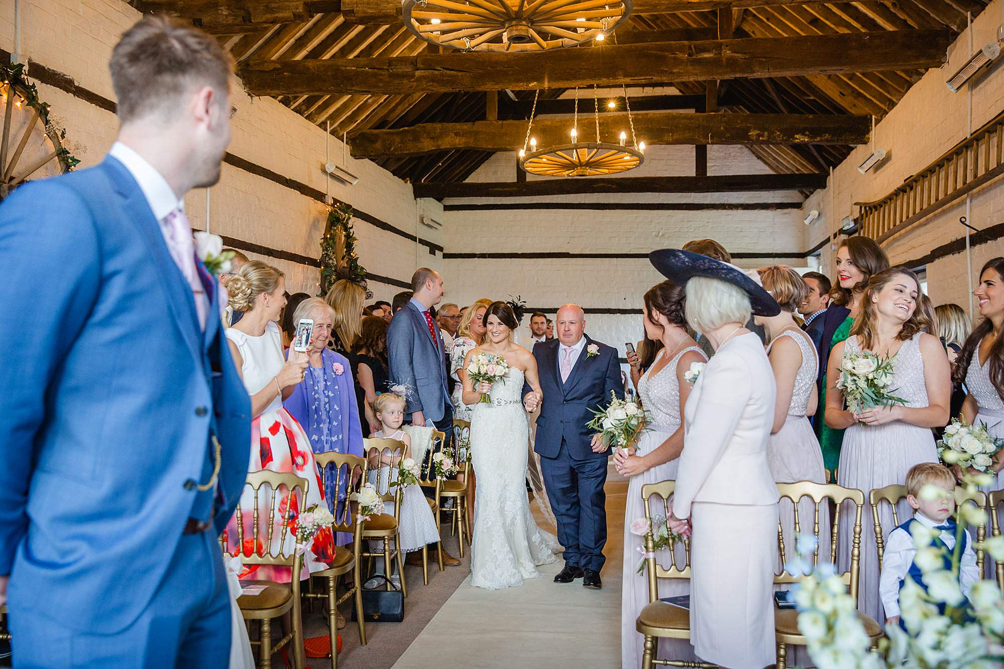 Lillibrooke Manor wedding bride and her father walk down the aisle