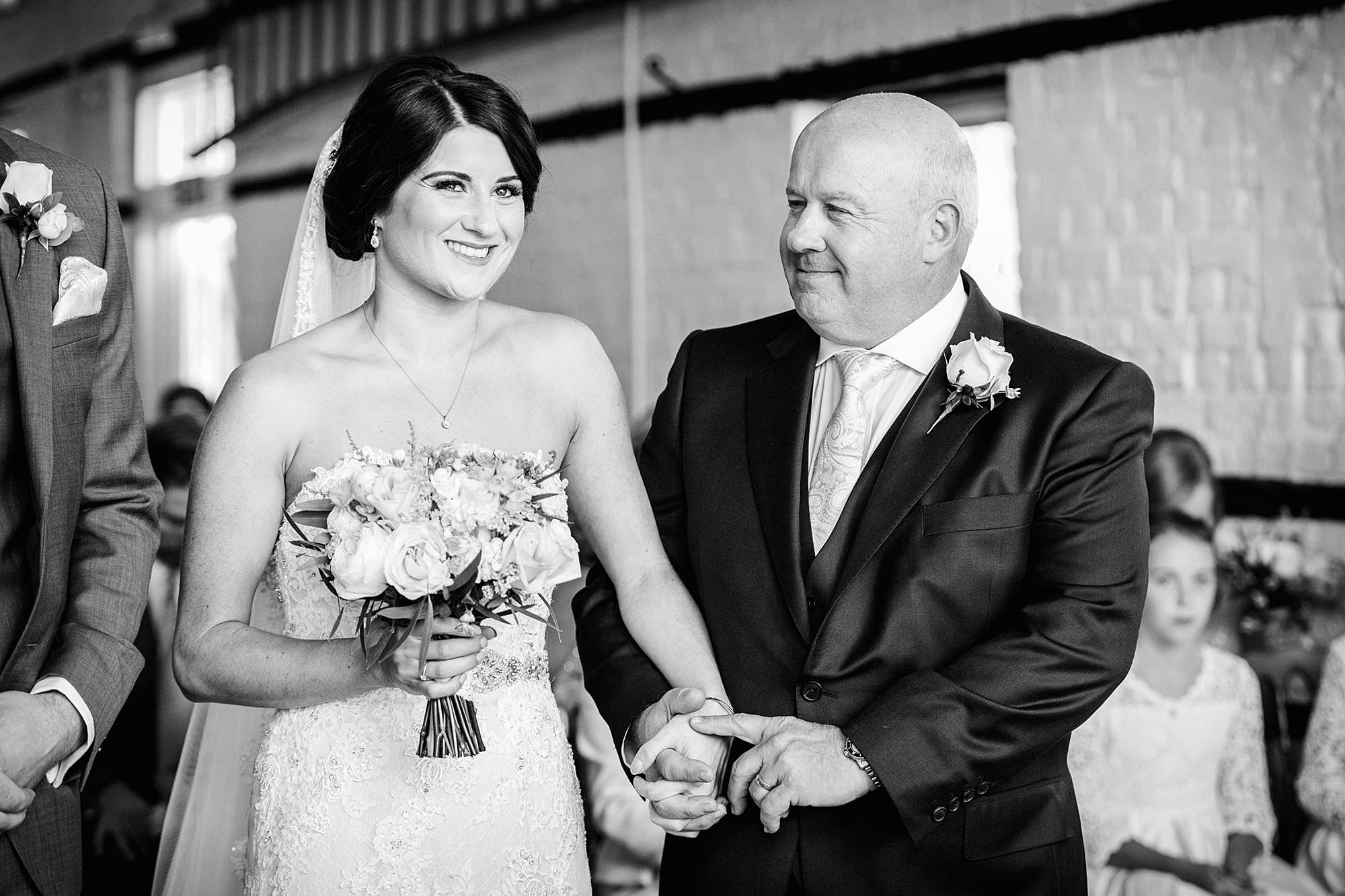 Lillibrooke Manor wedding father of bride smiles at his daughter
