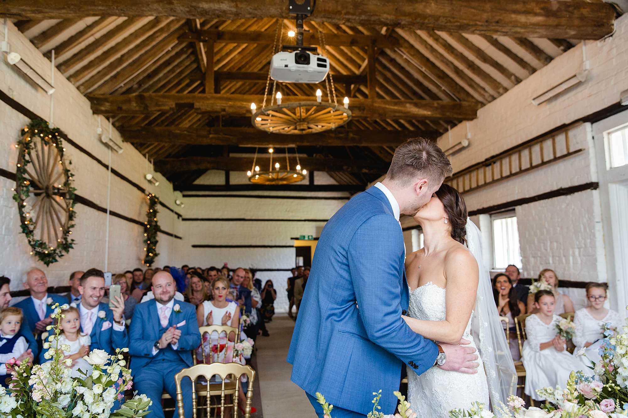 Lillibrooke Manor wedding first kiss