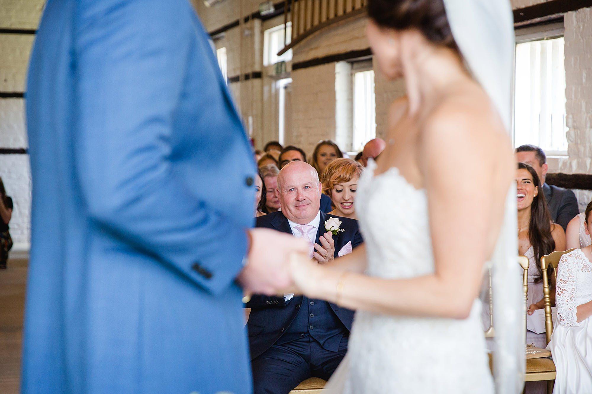Lillibrooke Manor wedding father of bride applauds newlyweds