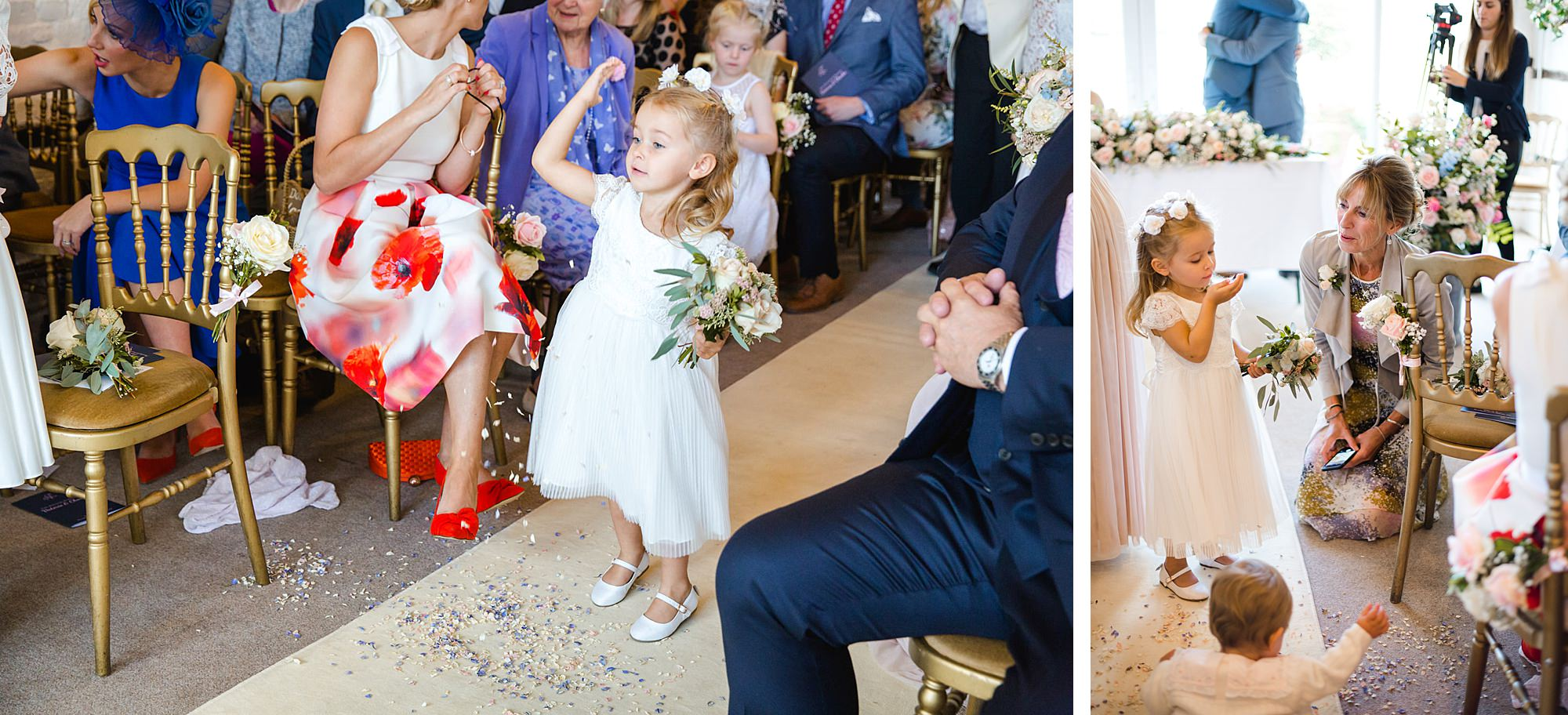 Lillibrooke Manor wedding flower girls play with confetti