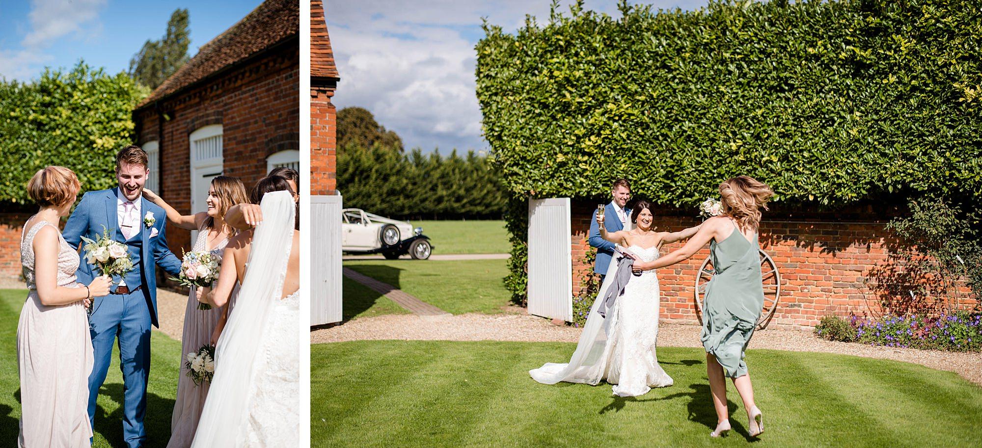Lillibrooke Manor wedding guests hug bride and groom after ceremony