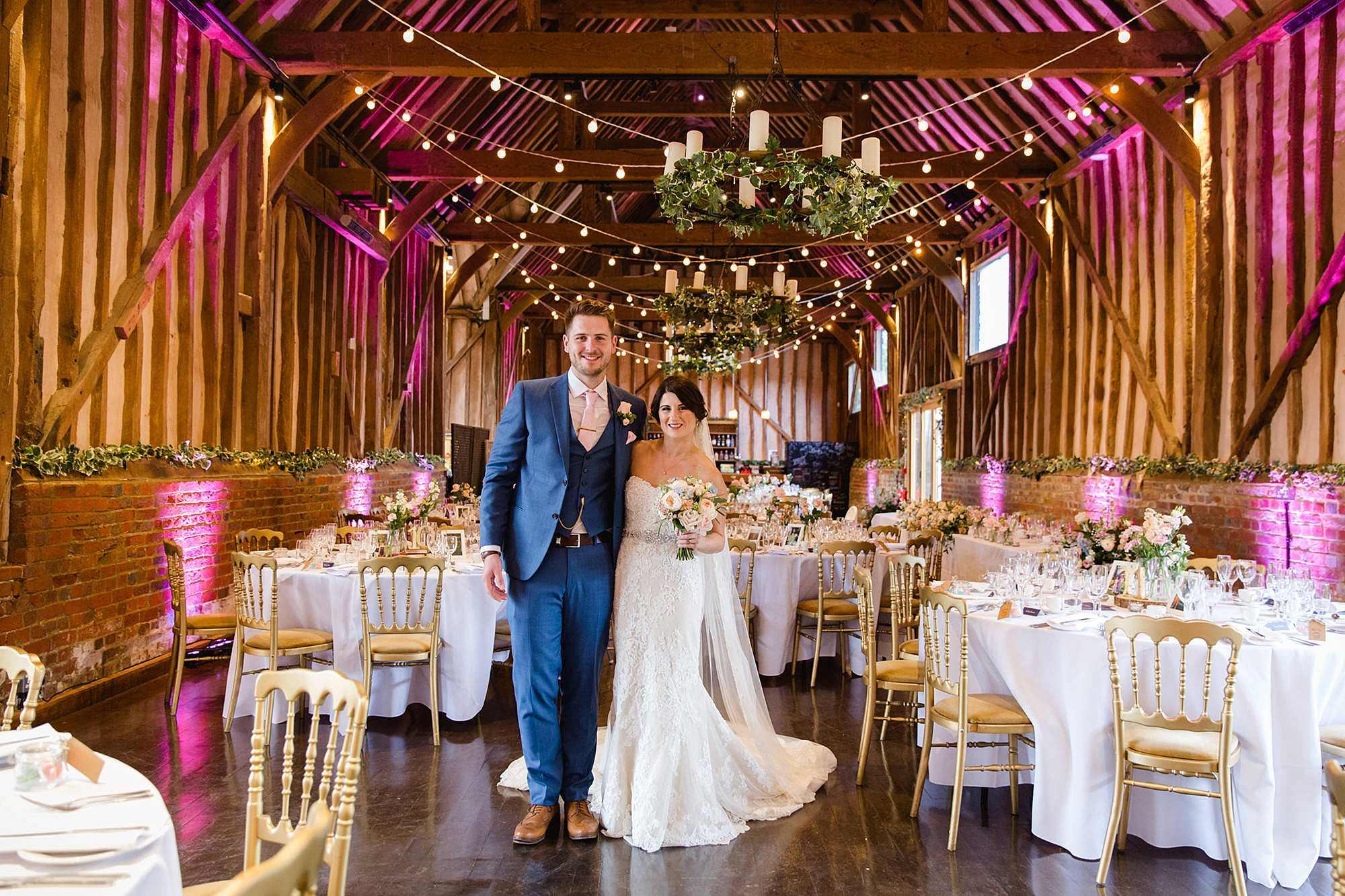 Lillibrooke Manor wedding portrait of bride and groom in wedding breakfast room
