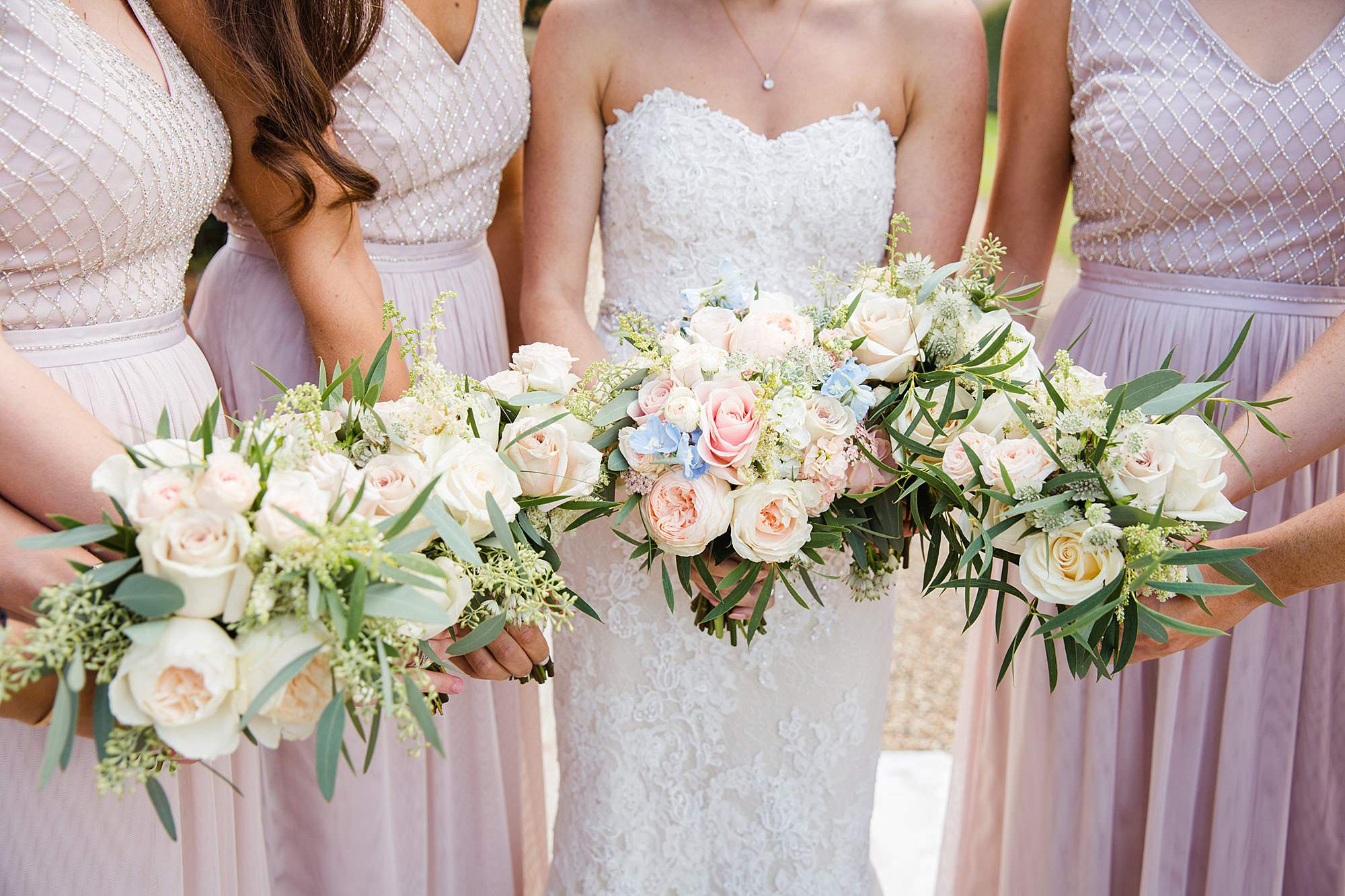 Lillibrooke Manor wedding close up detail of bride and bridesmaids bouquets
