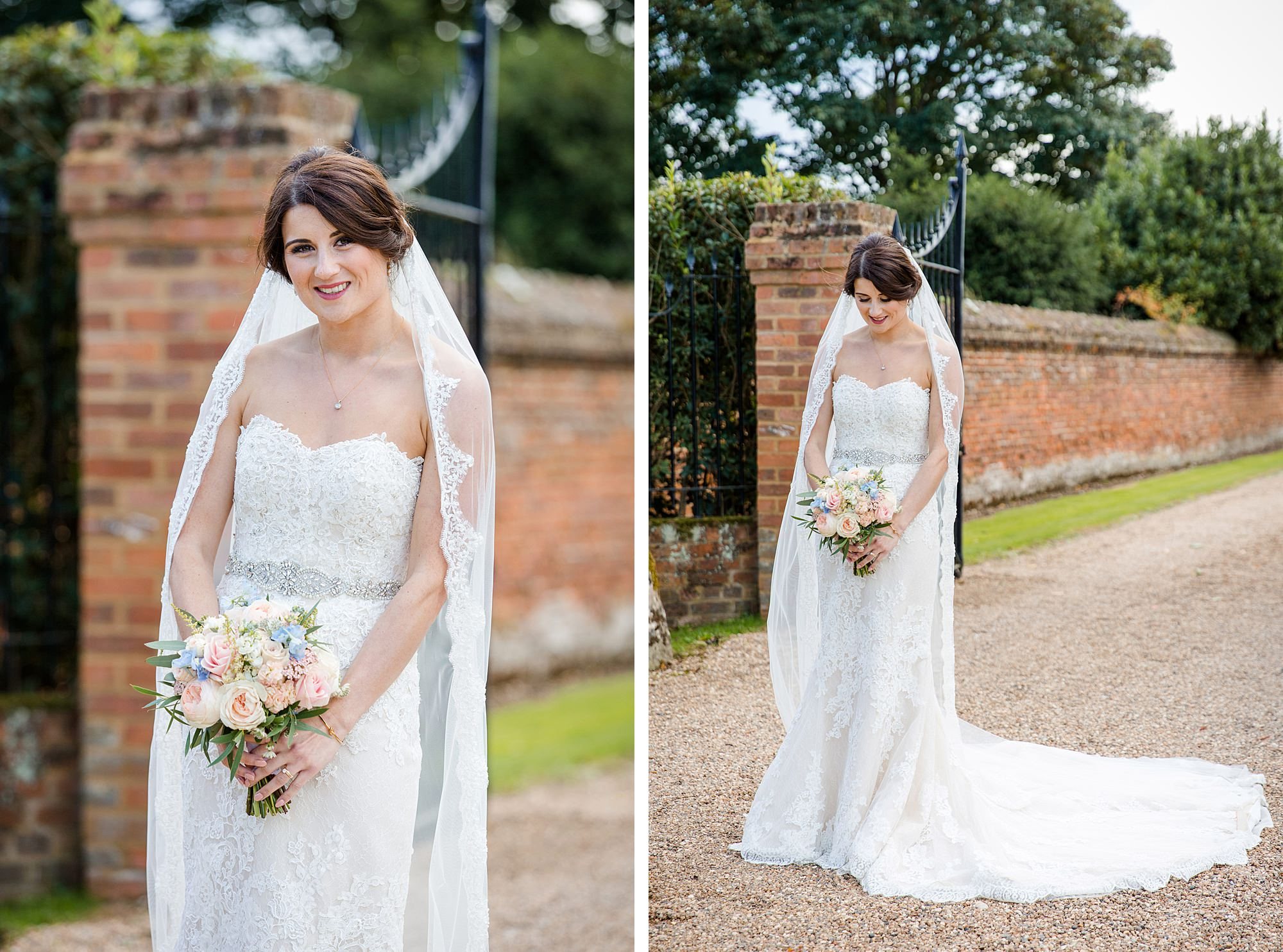 Lillibrooke Manor wedding portrait of bride with her veil