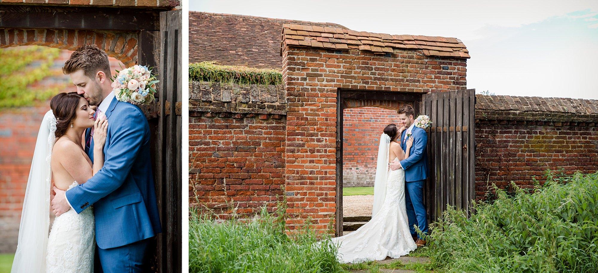 Lillibrooke Manor wedding bride and groom stand in rustic doorway