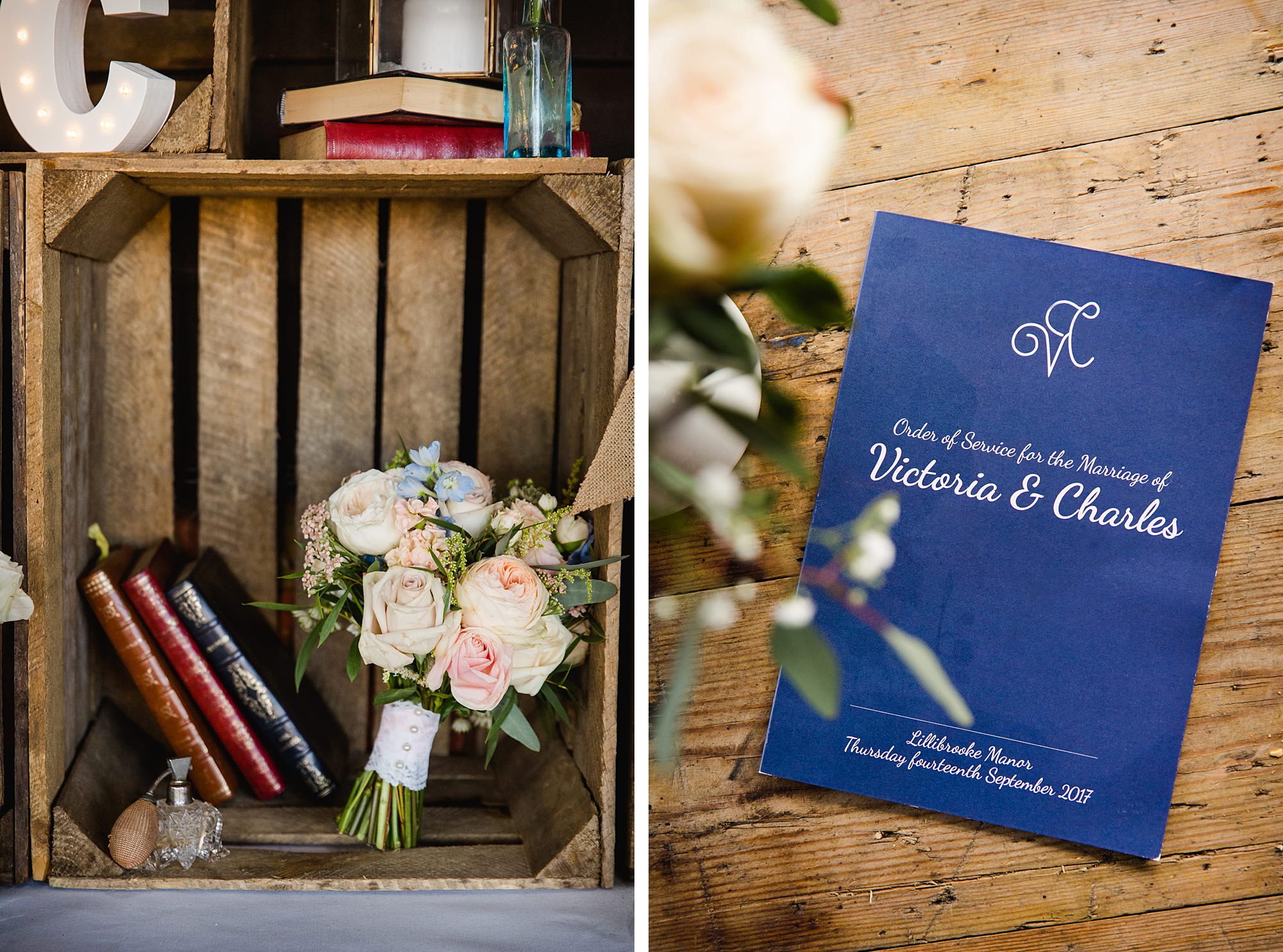 Lillibrooke Manor wedding bride's bouquet and order of service