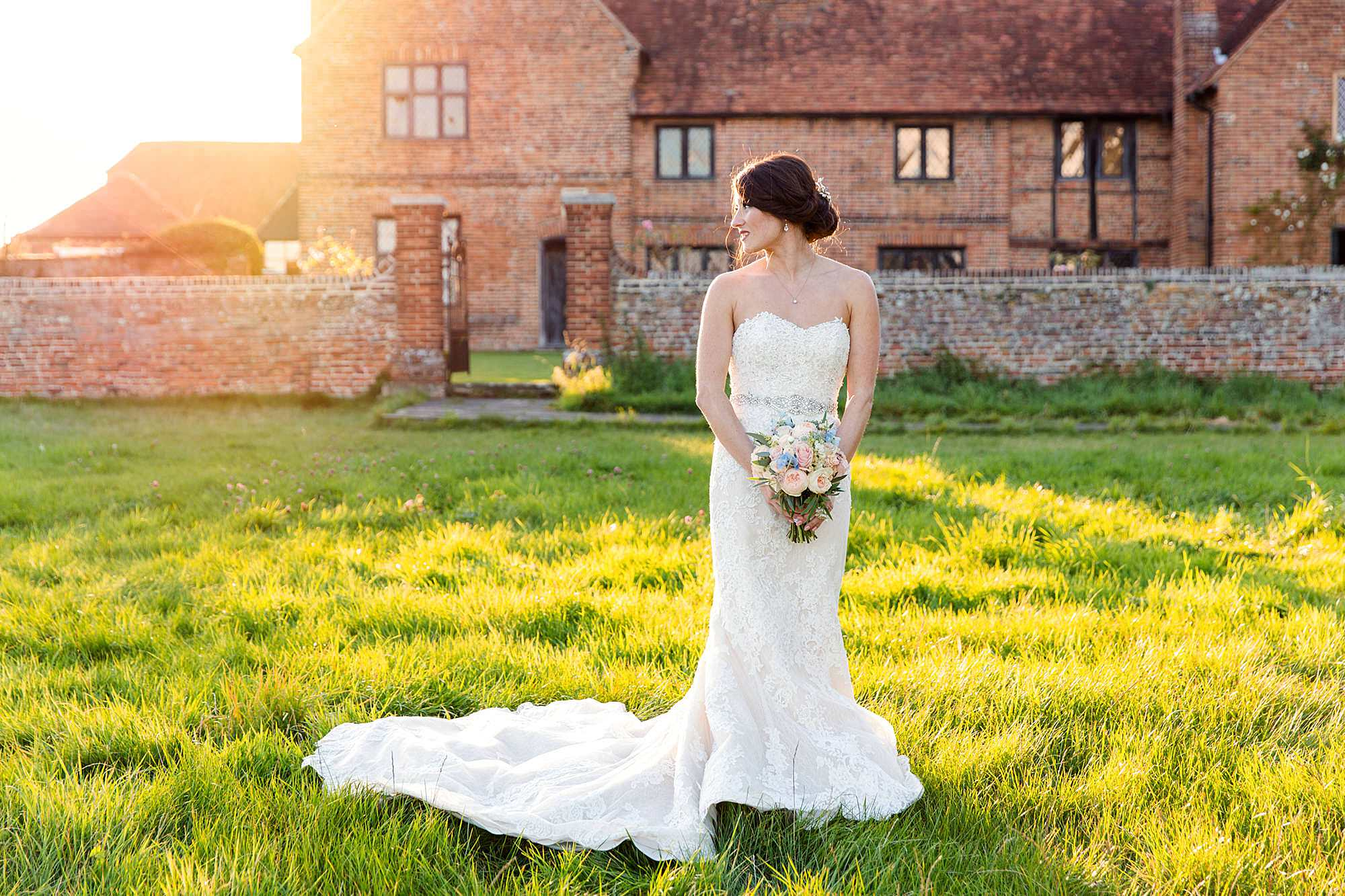 Lillibrooke Manor wedding portrait of bride at sunset