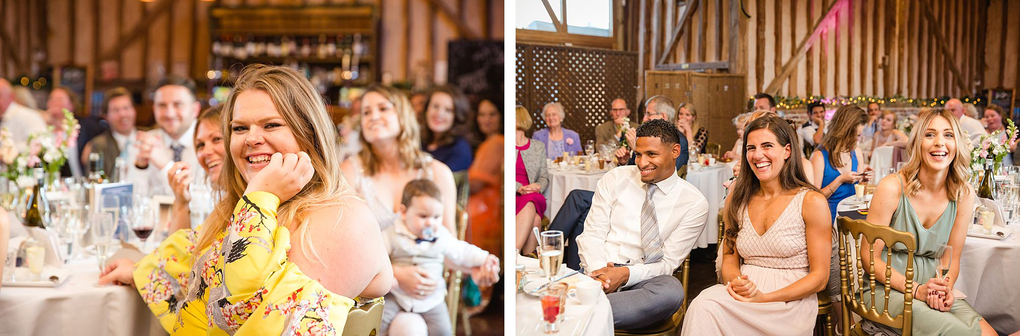 Lillibrooke Manor wedding guests laughing during speeches