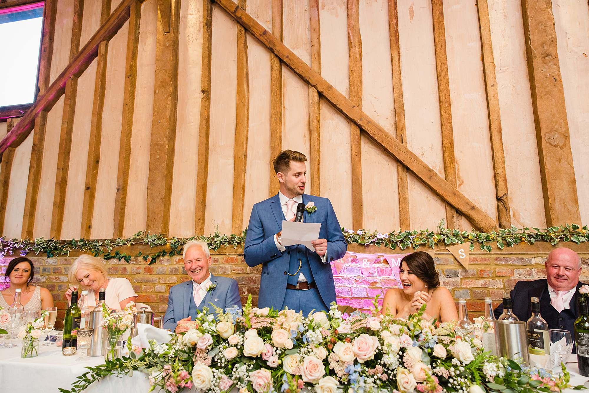 Lillibrooke Manor wedding groom giving speech