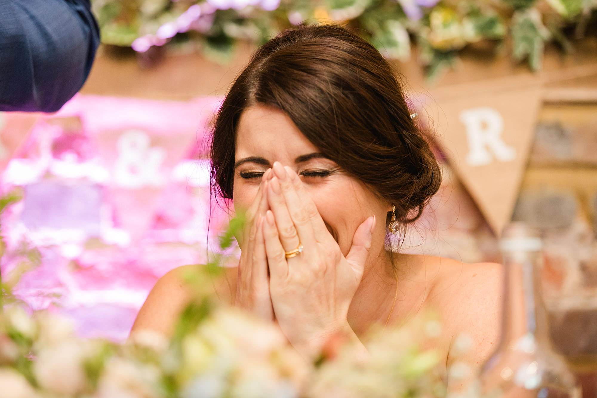 Lillibrooke Manor wedding bride laughs during speeches