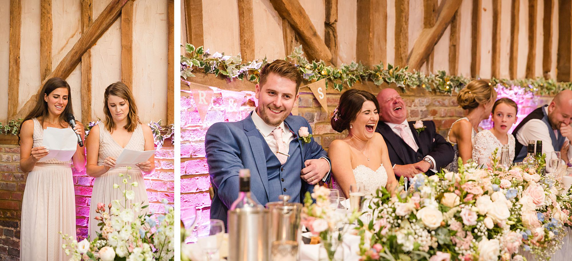 Lillibrooke Manor wedding bride and groom laughing at bridesmaid speech