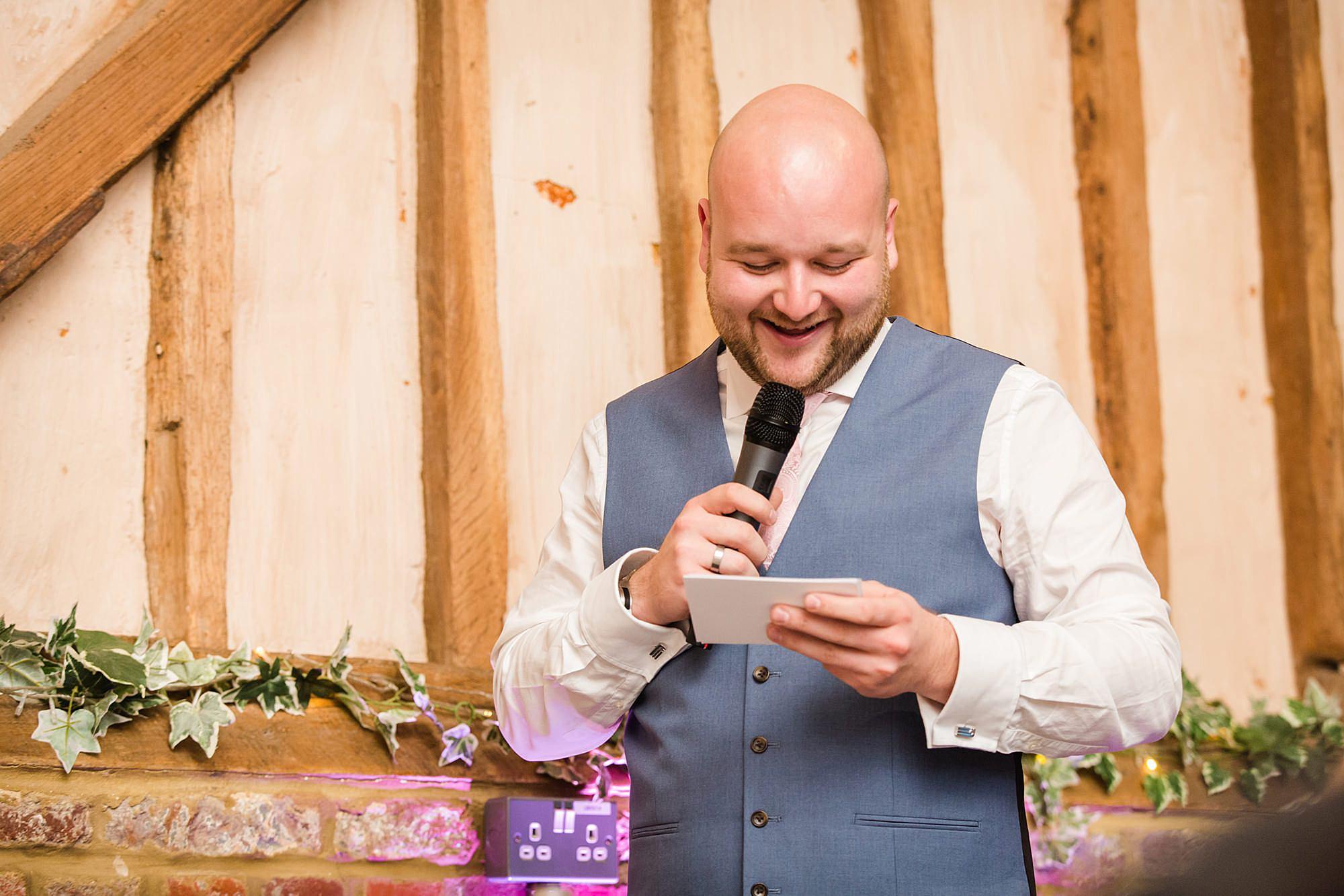 Lillibrooke Manor wedding best man giving speech