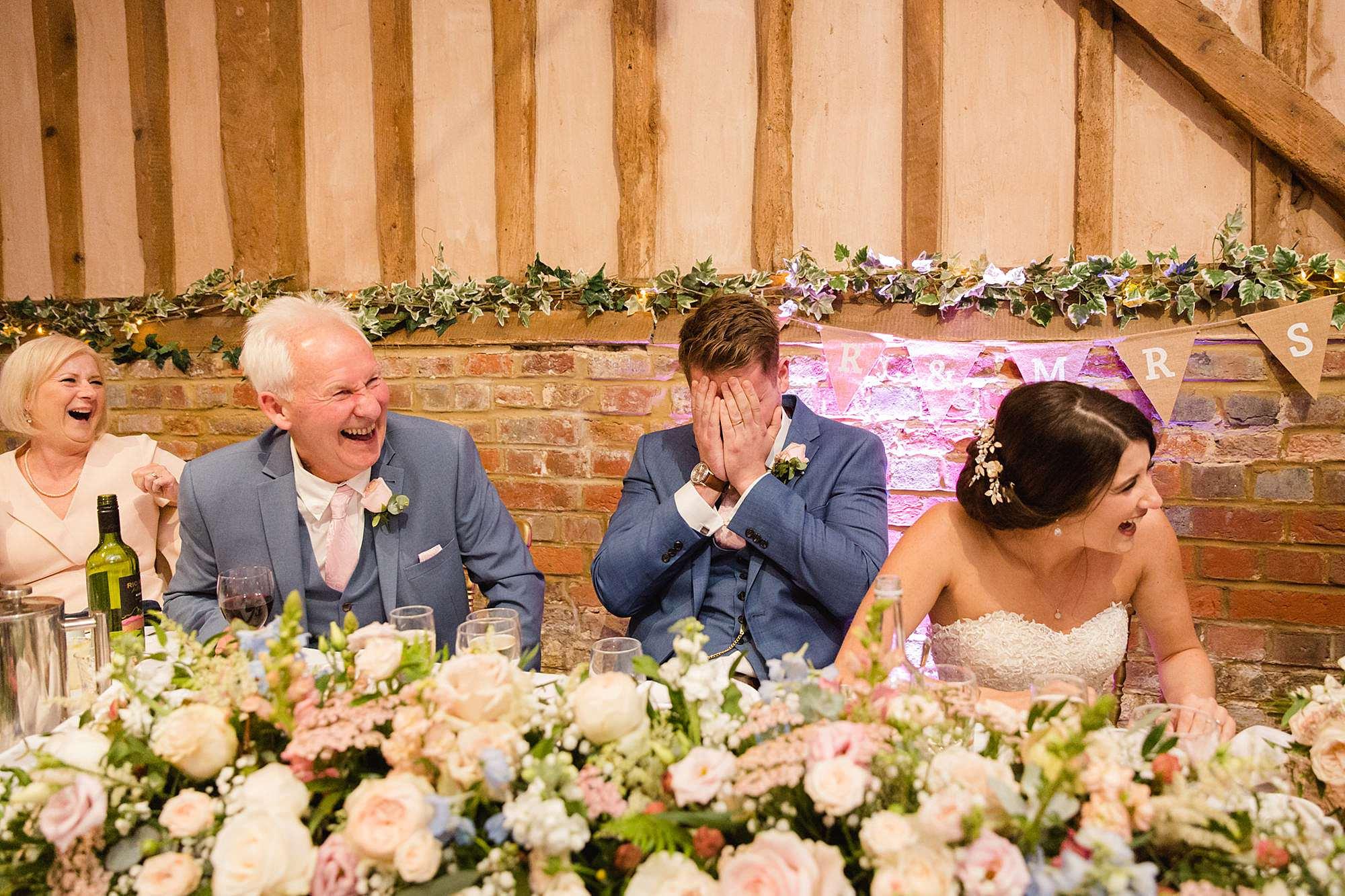 Lillibrooke Manor wedding groom cringes during best man speech