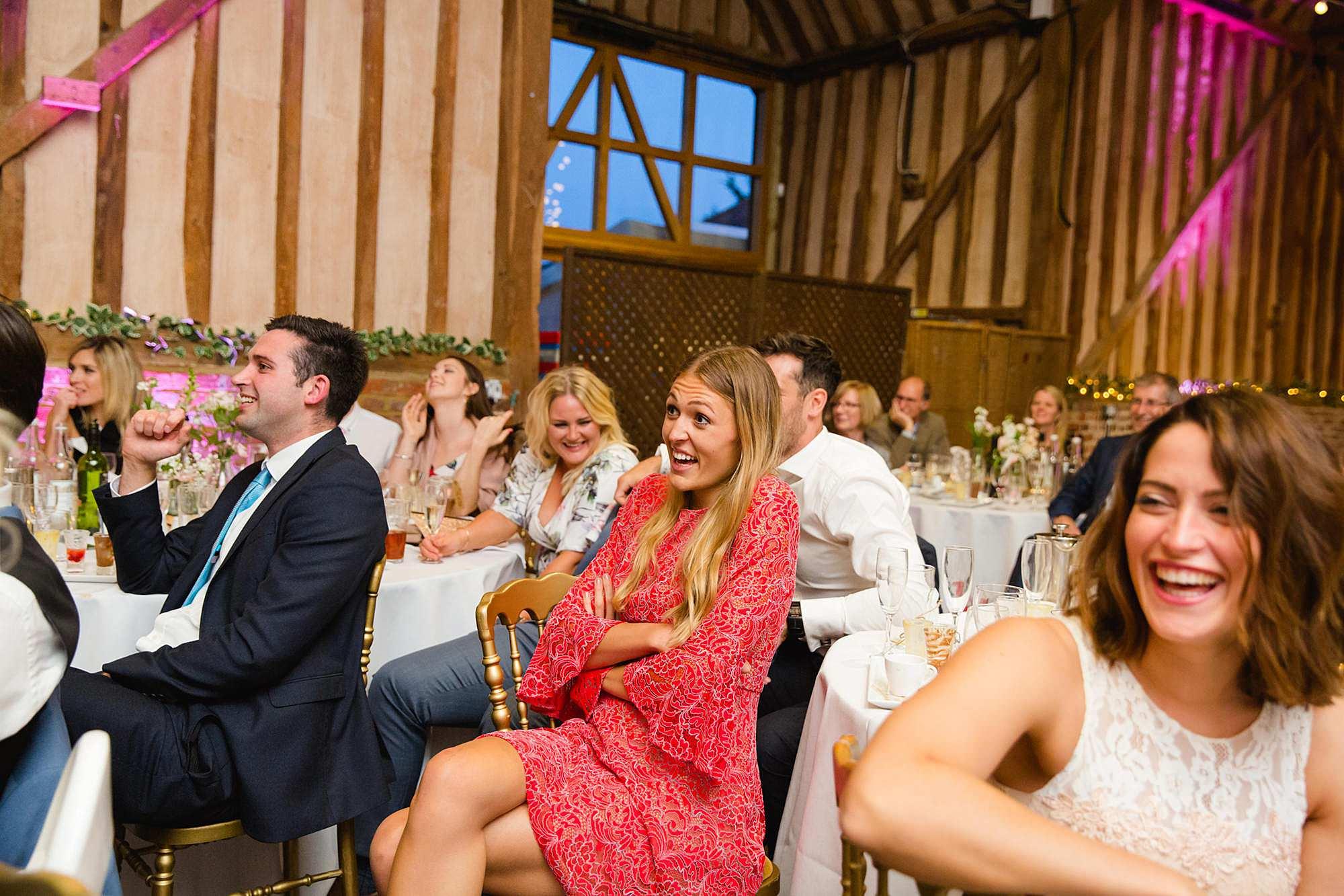 Lillibrooke Manor wedding guest reaction to best man's video speech