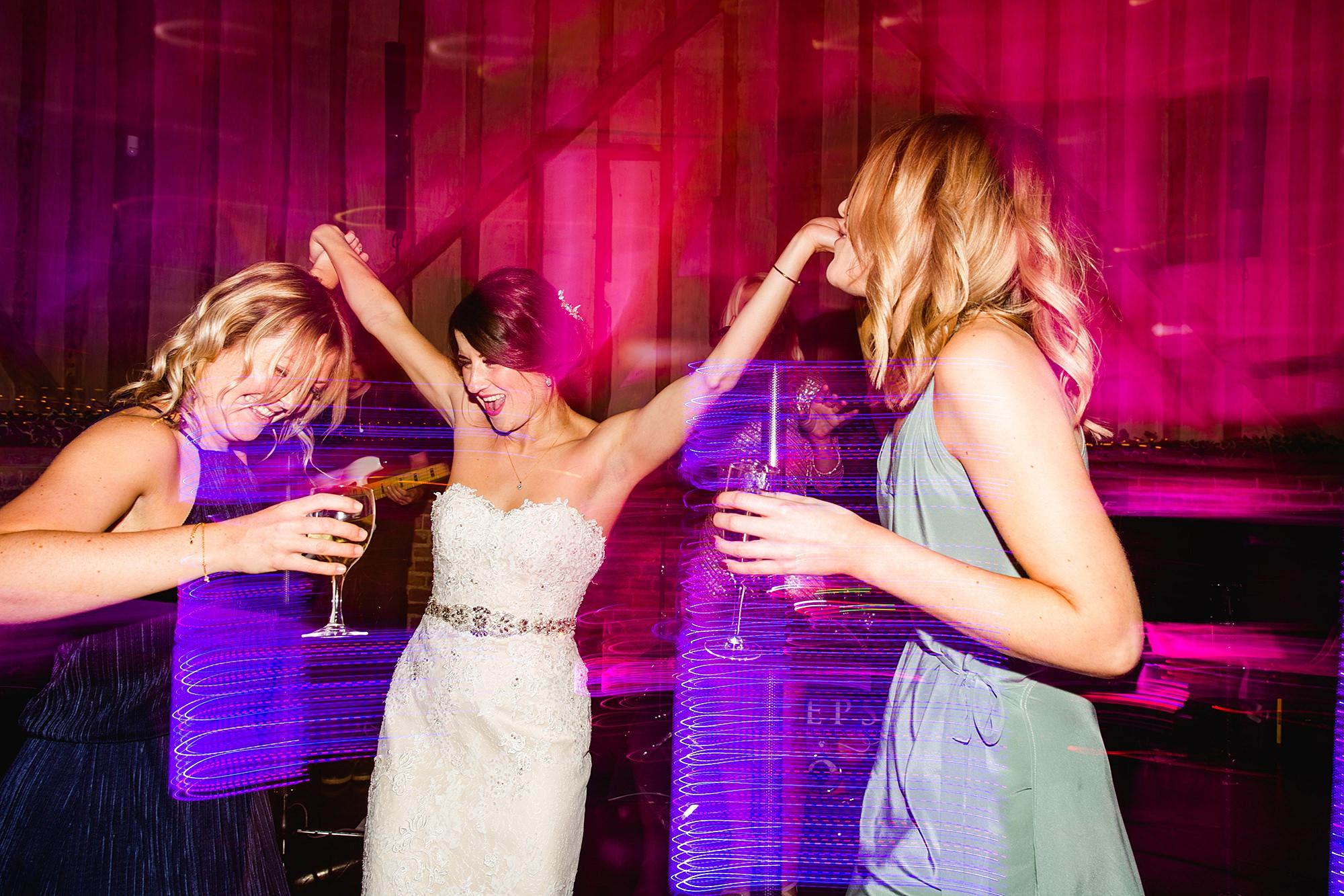 Lillibrooke Manor wedding bride and friends dance