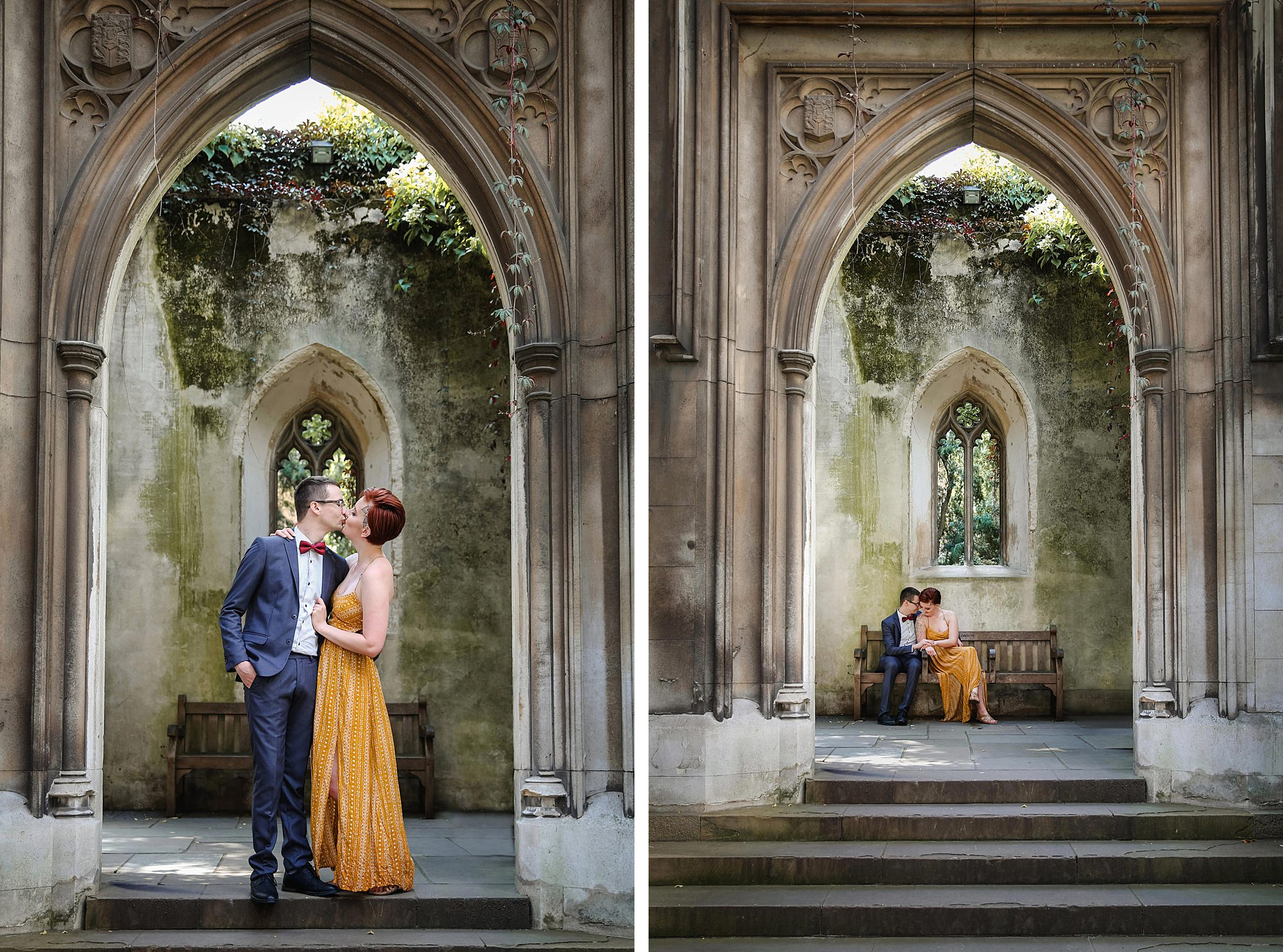 london engagement session portrait of couple in church doorway