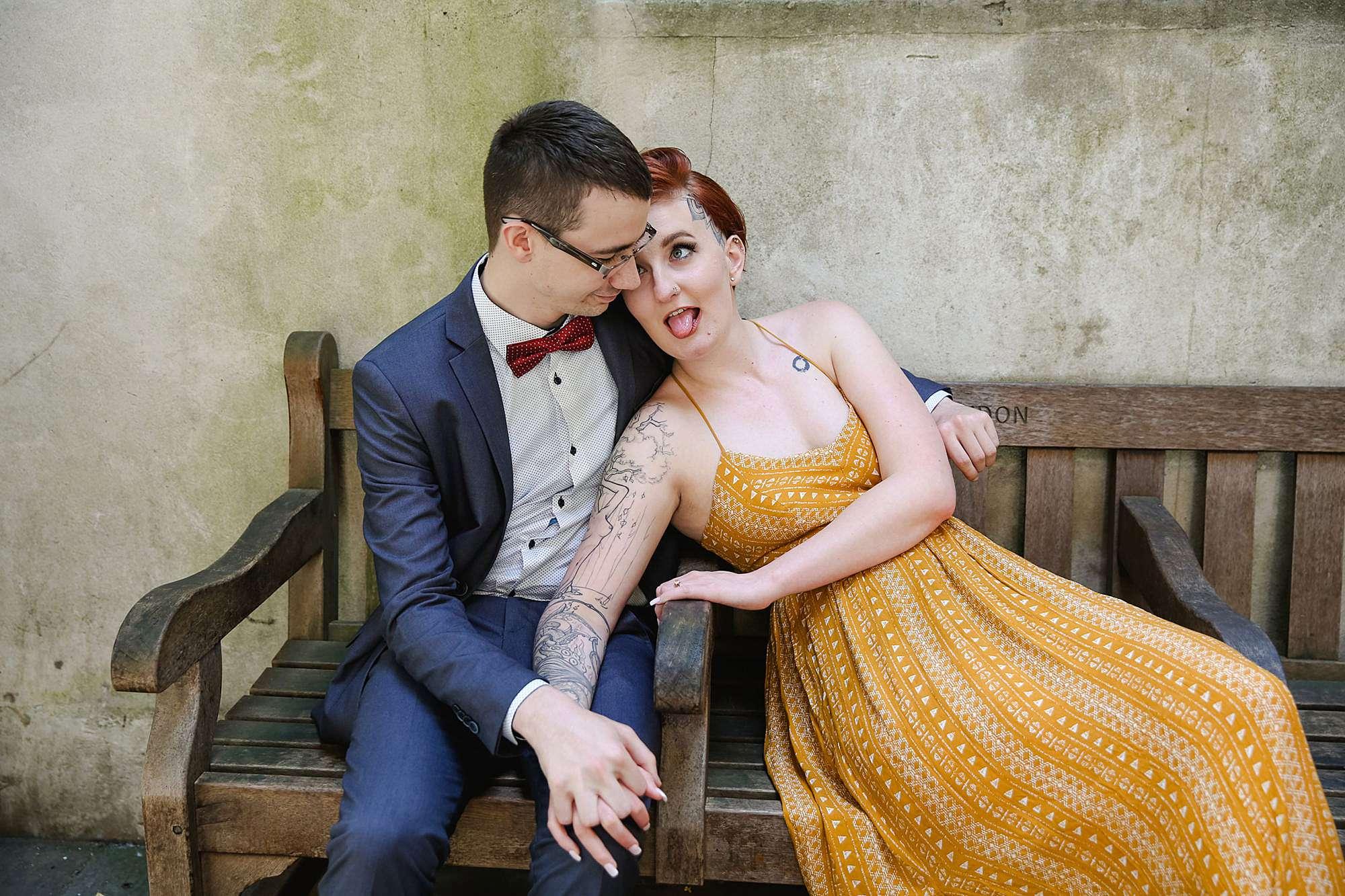 london engagement session fun portrait of couple pulling faces
