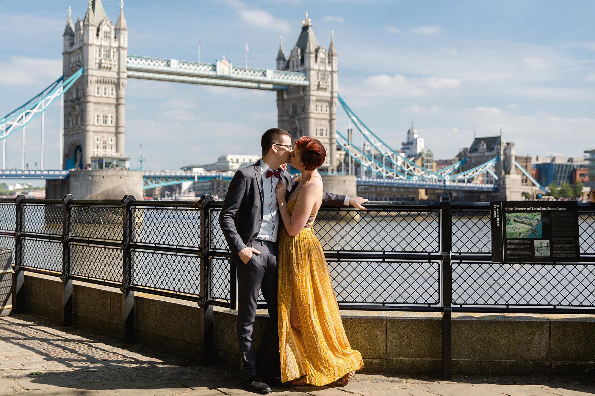 london engagement session couple in front of tower bridge