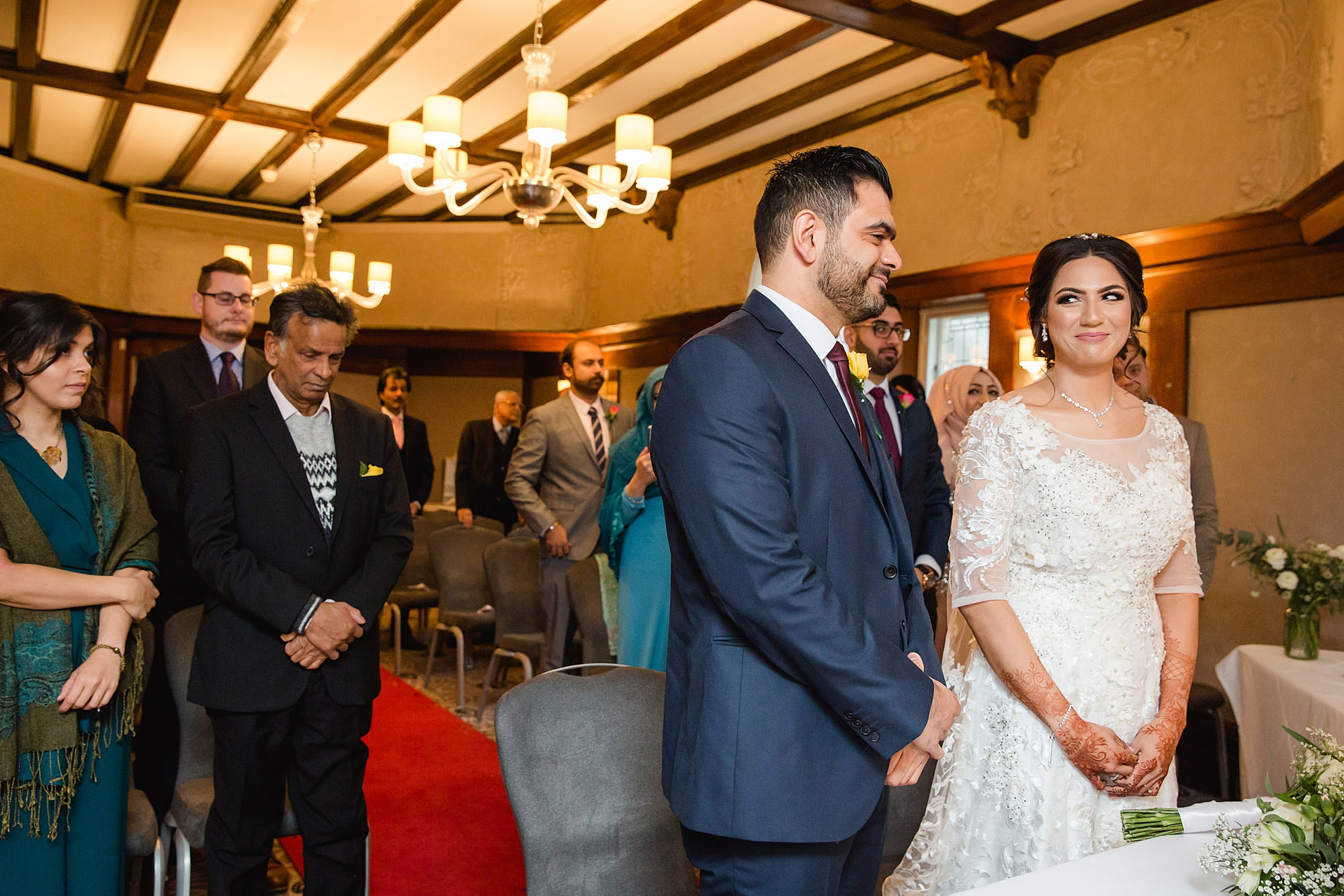 Richmond Hill Hotel wedding photography bride and groom together at ceremony
