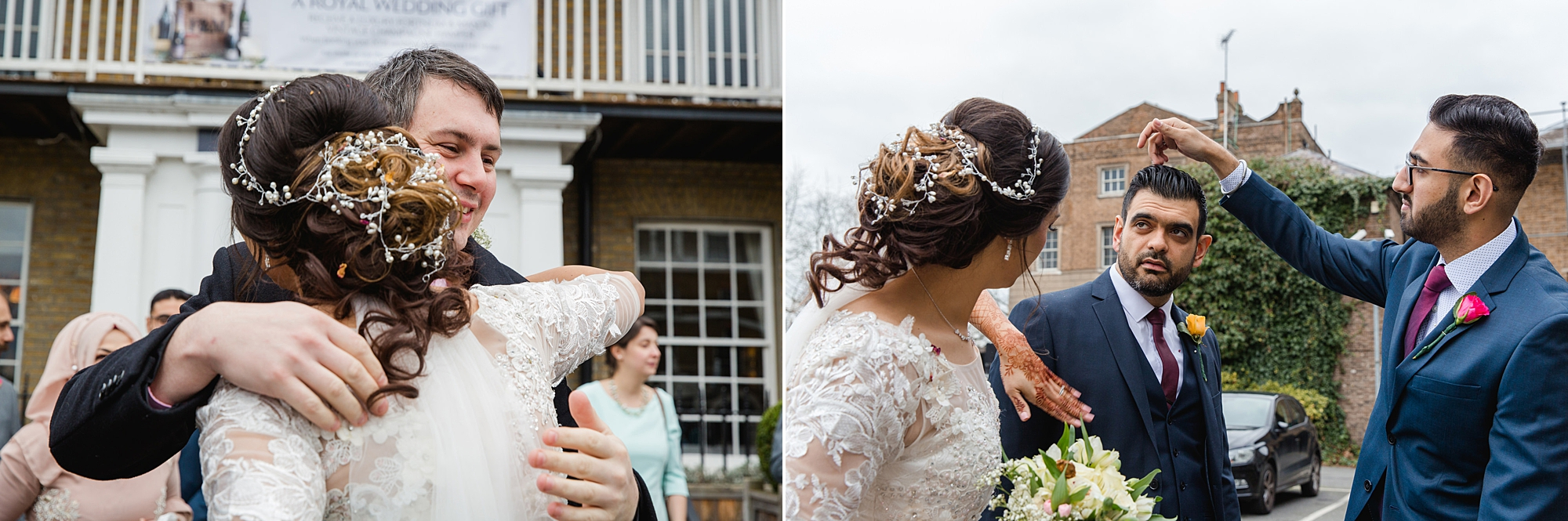 Richmond Hill Hotel wedding photography bride brushing confetti off groom