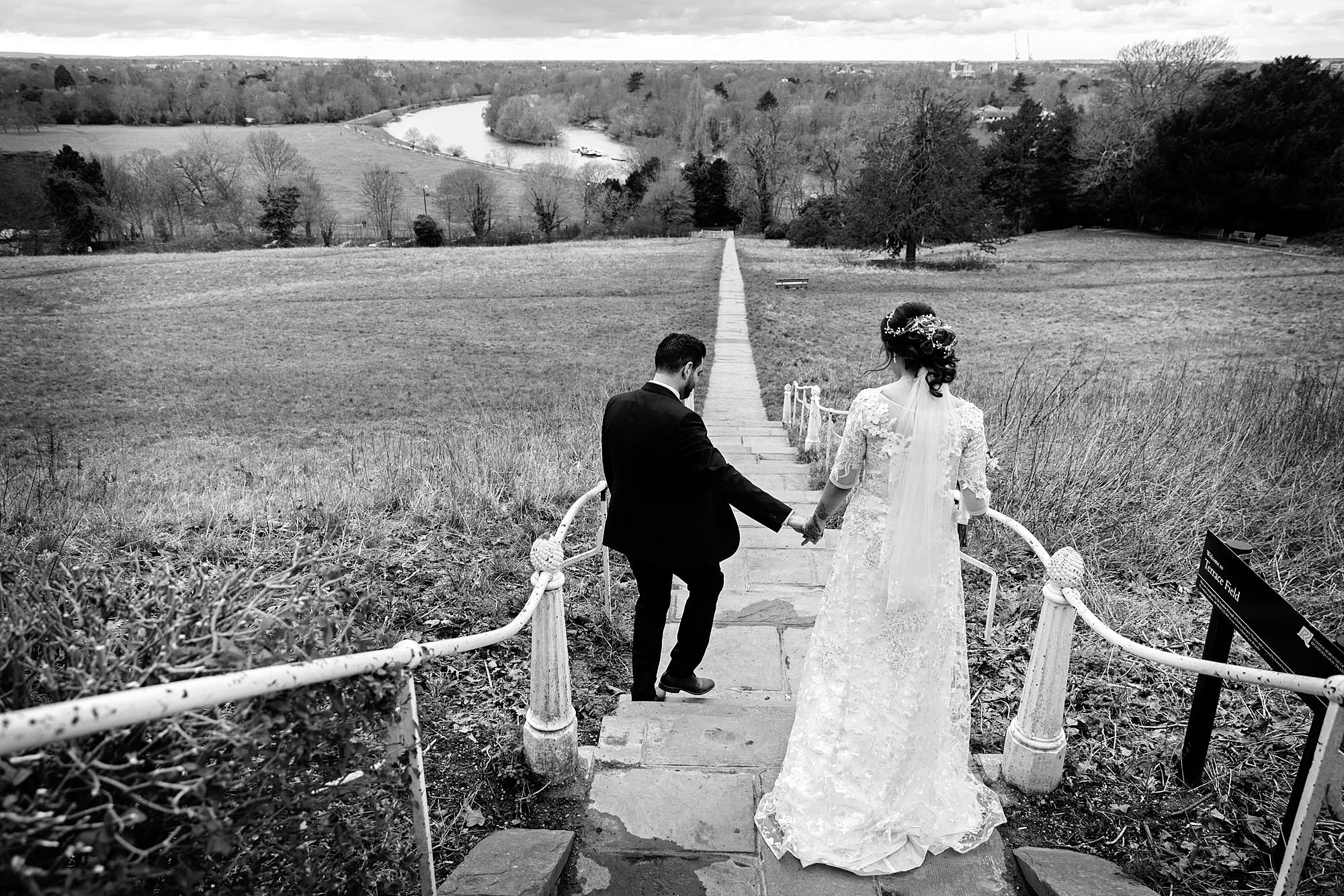 Richmond Hill Hotel wedding photography groom and bride on steps