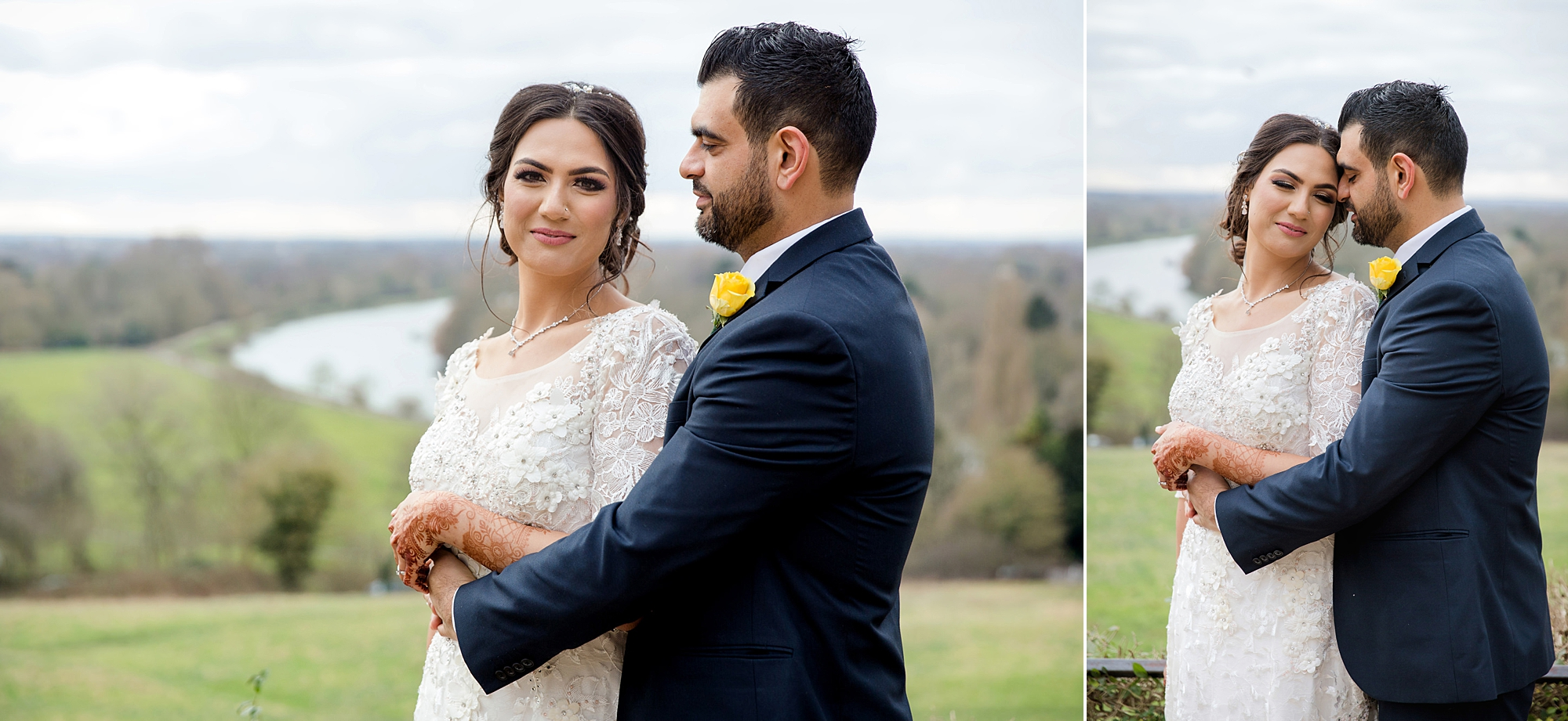 Richmond Hill Hotel wedding photography bride and groom together on richmond hill terrace