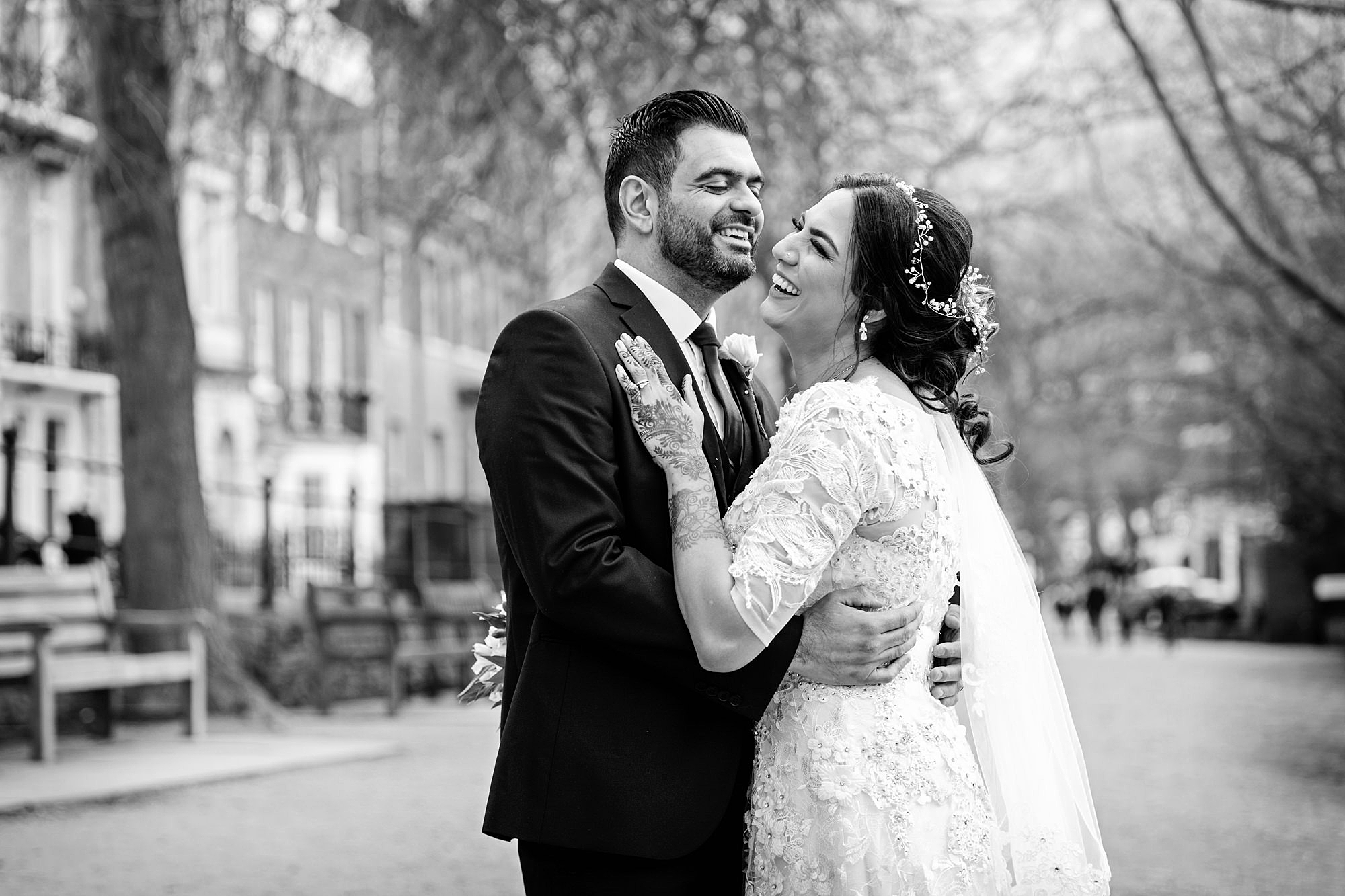 Richmond Hill Hotel wedding photography fun portrait of bride and groom laughing together