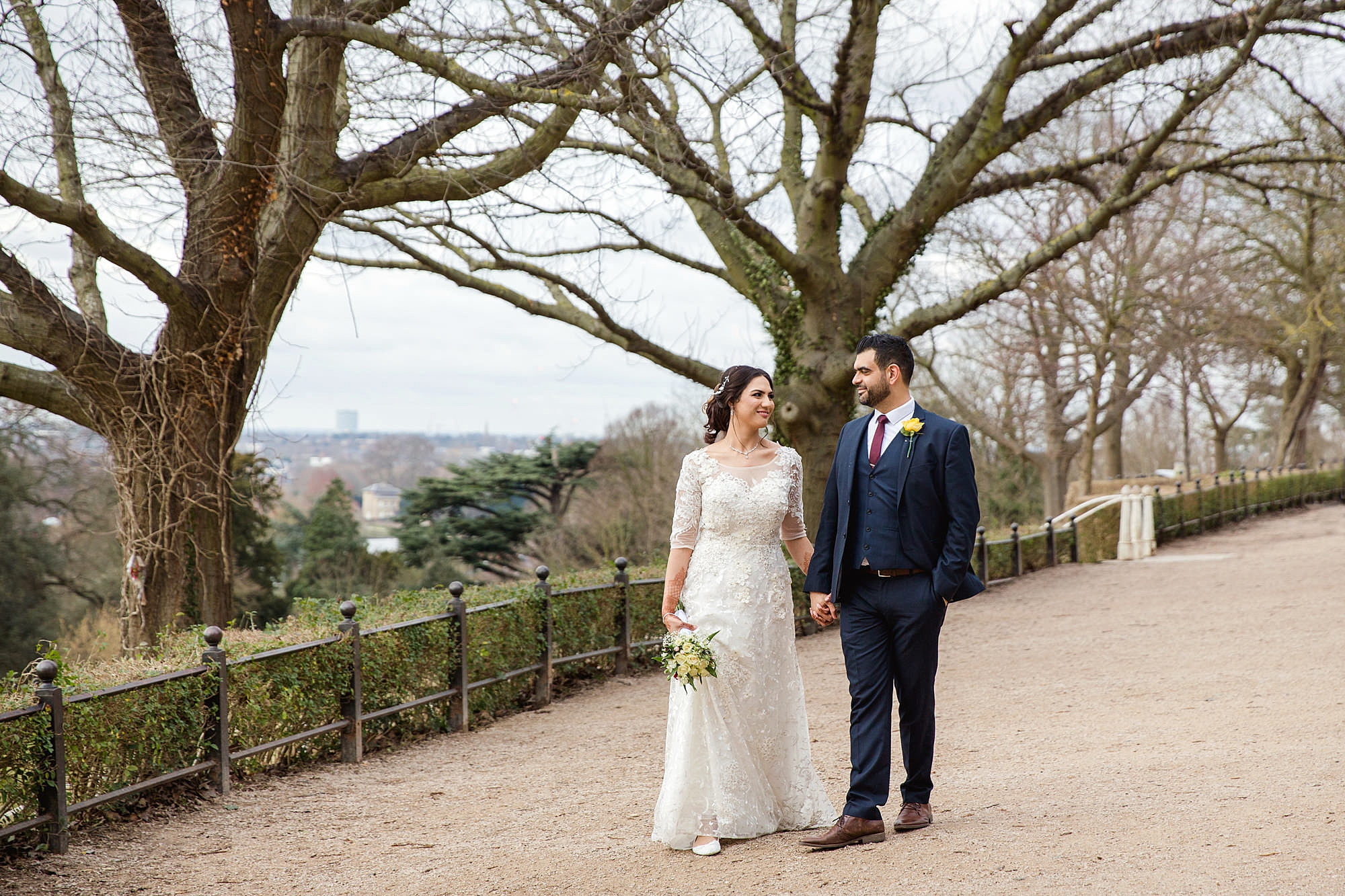Richmond Hill Hotel wedding bride and groom walking on terrace