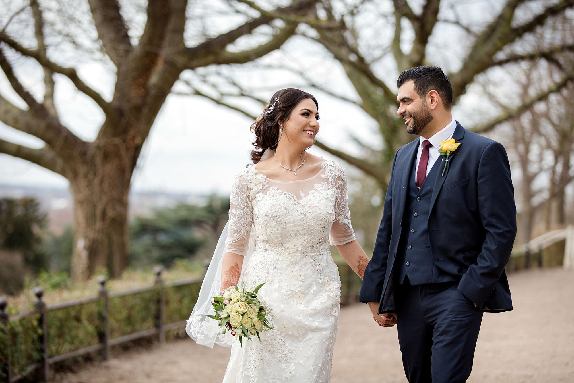 Richmond Hill Hotel wedding groom and bride walking together