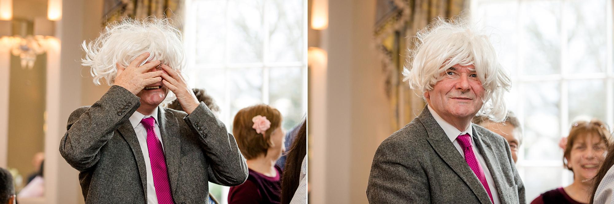 Richmond Hill Hotel wedding guest in funny wig