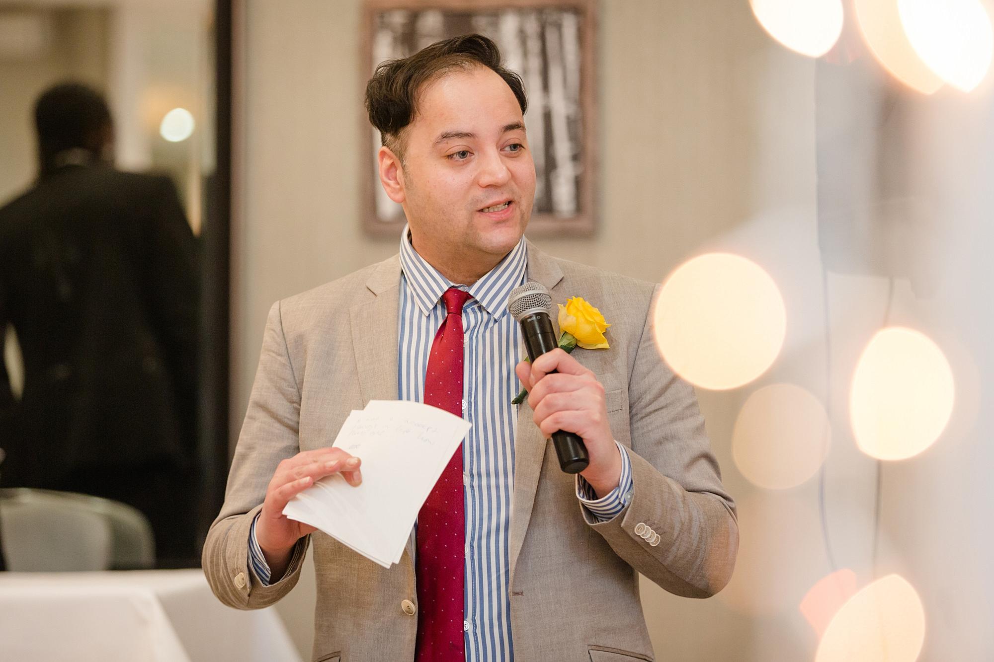 Richmond Hill Hotel wedding best man giving speech
