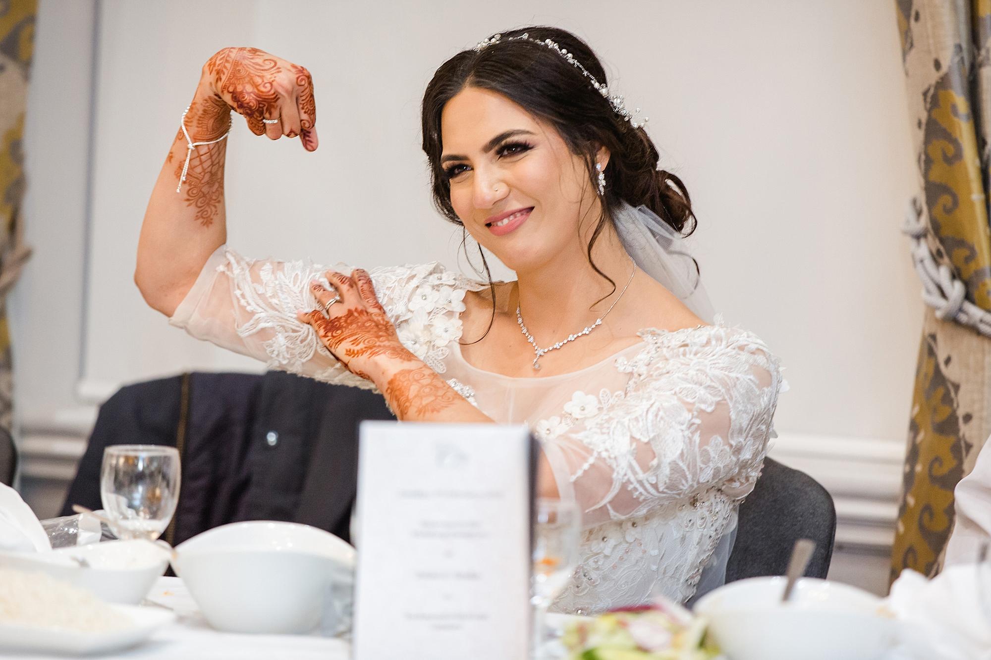 Richmond Hill Hotel wedding portrait of bride during speeches