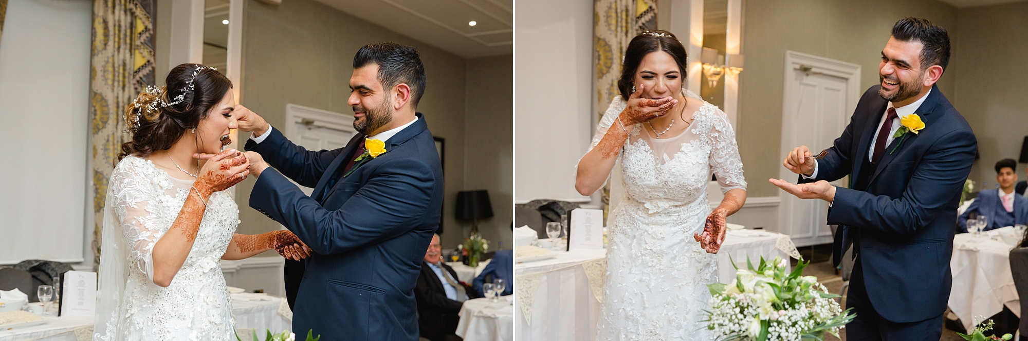 Richmond Hill Hotel wedding funny portrait of bride and groom parting wedding cake