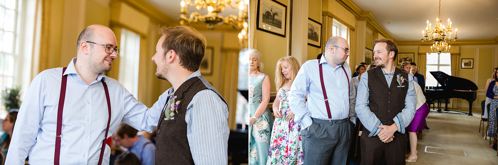 Fun village hall wedding portrait of groom waiting for bride at Edes house