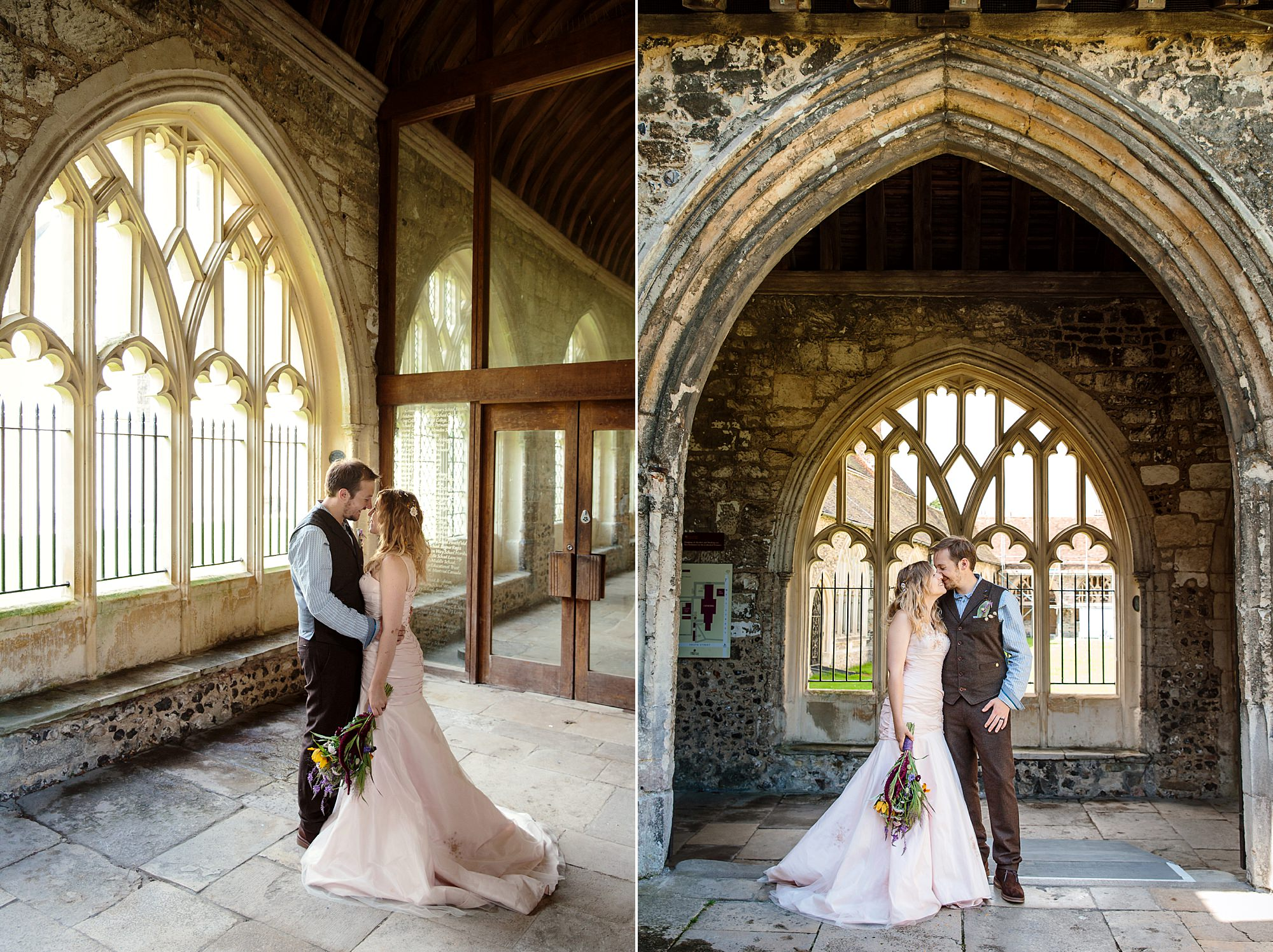 Fun village hall wedding bride and groom at chichester cathedral