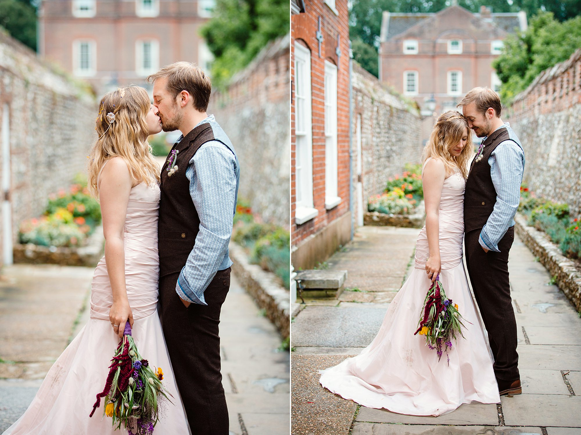 Fun village hall wedding bride and groom together at chichester cathedral
