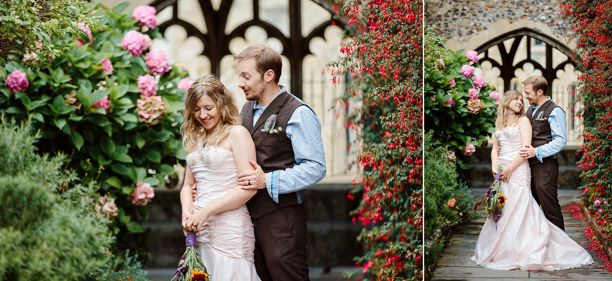 Fun village hall wedding bride and groom ;laughing together at chichester cathedral