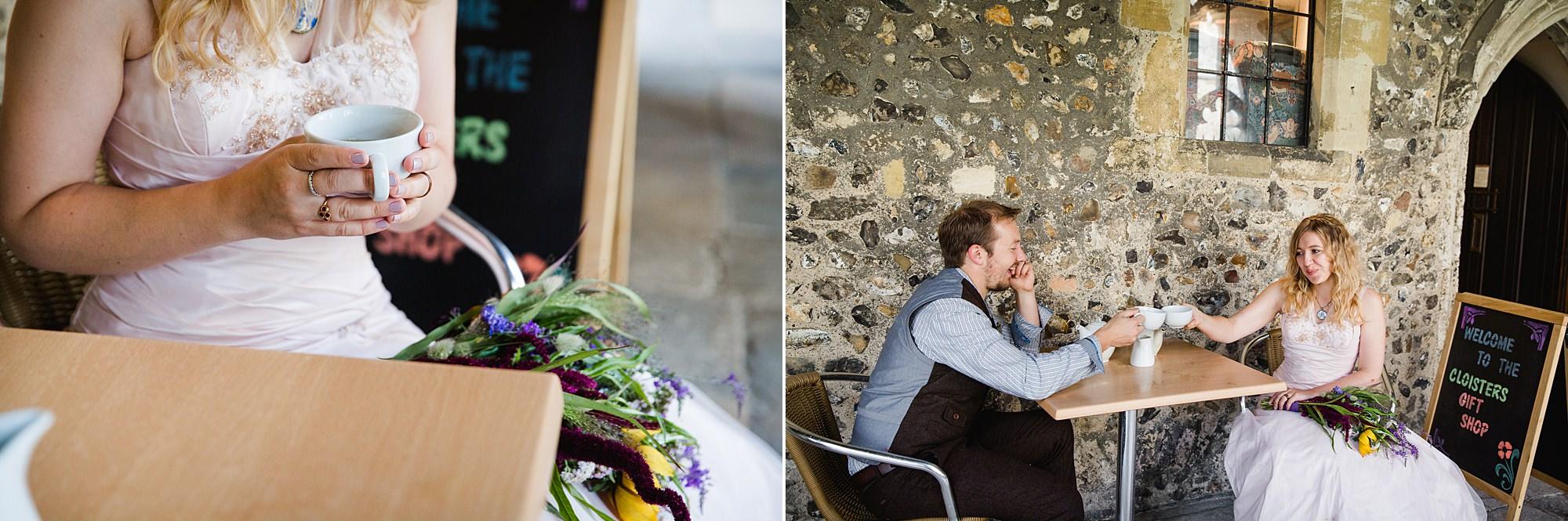 Fun village hall wedding bride and groom enjoying some tea