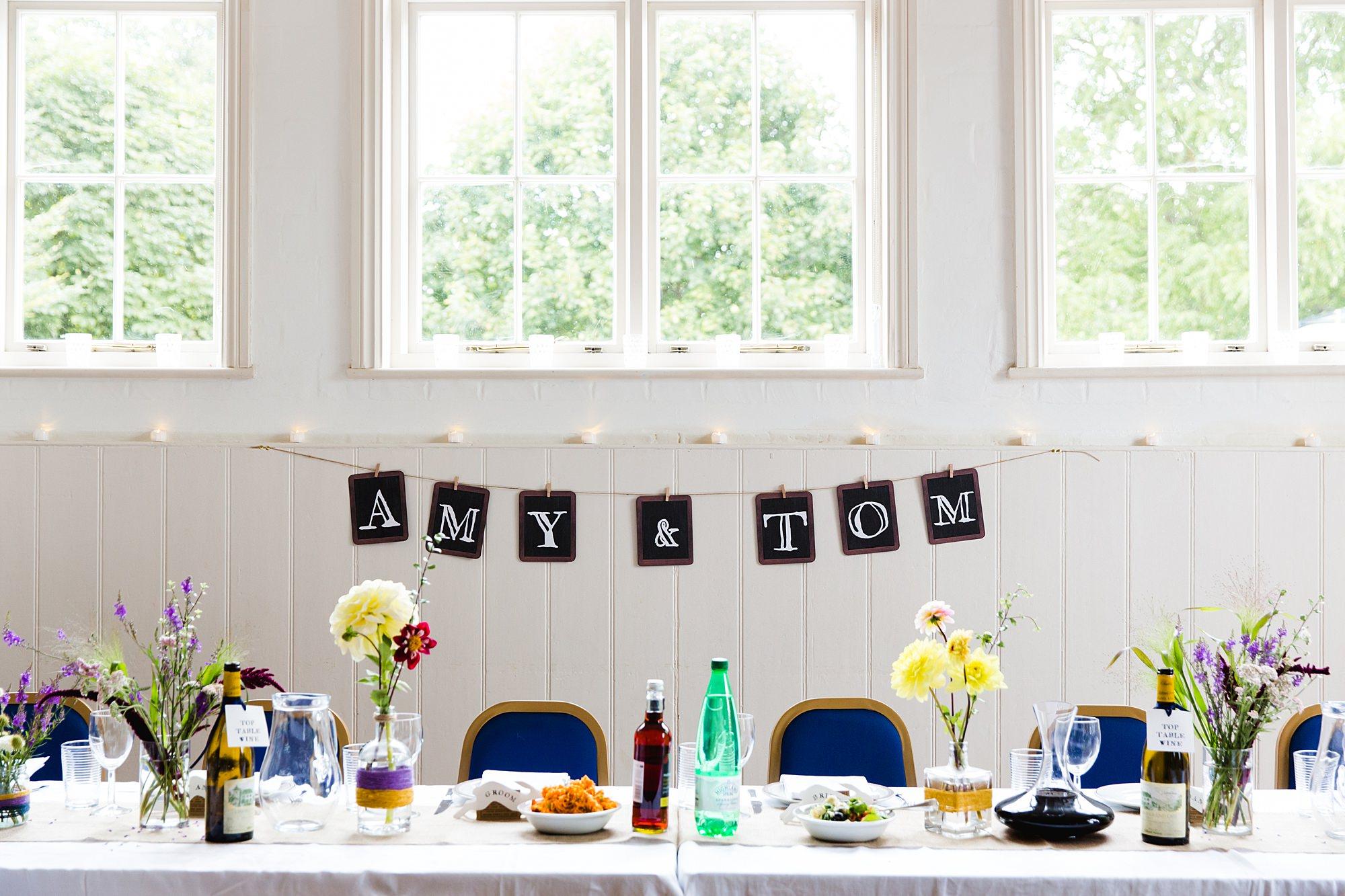 Fun village hall wedding DIY table decorations